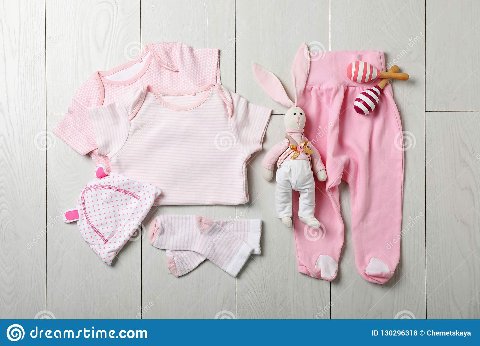 Flat lay composition with stylish baby clothes