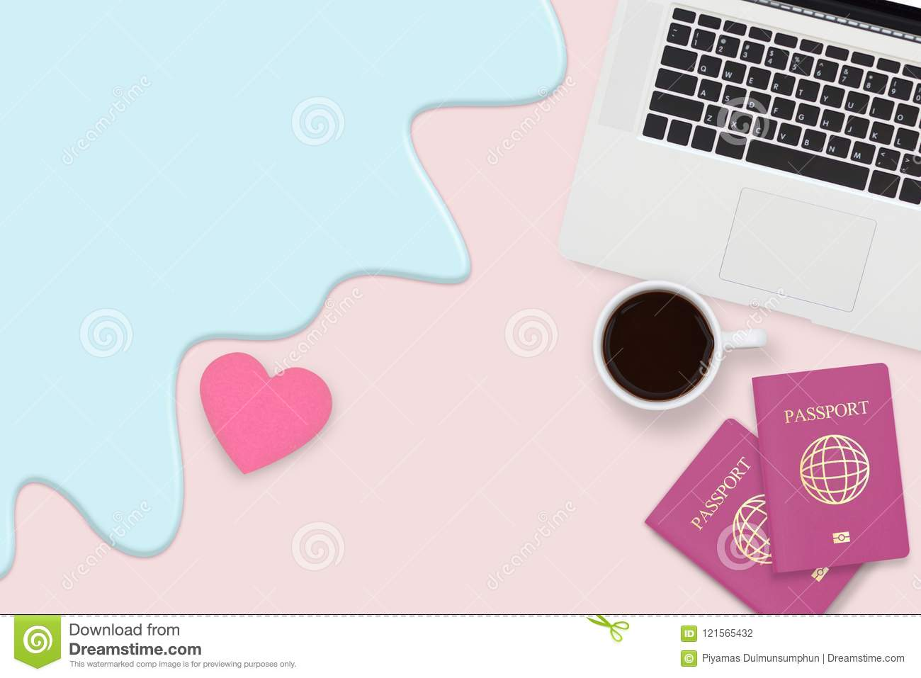 Flat lay of couple passport , cup of coffee and computer laptop
