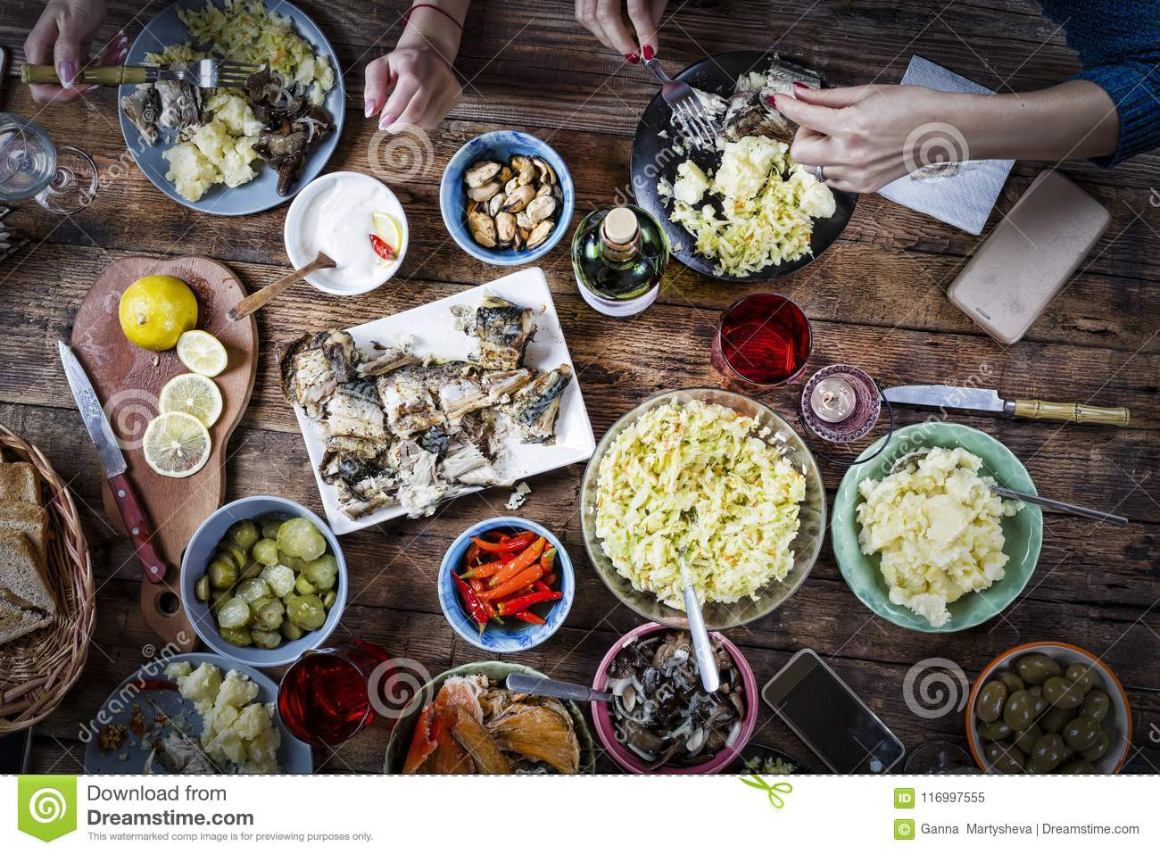Flat-lay, dinner, food, grill, beef, snacks, fingerfoods meal, holiday Buffet Party Concept