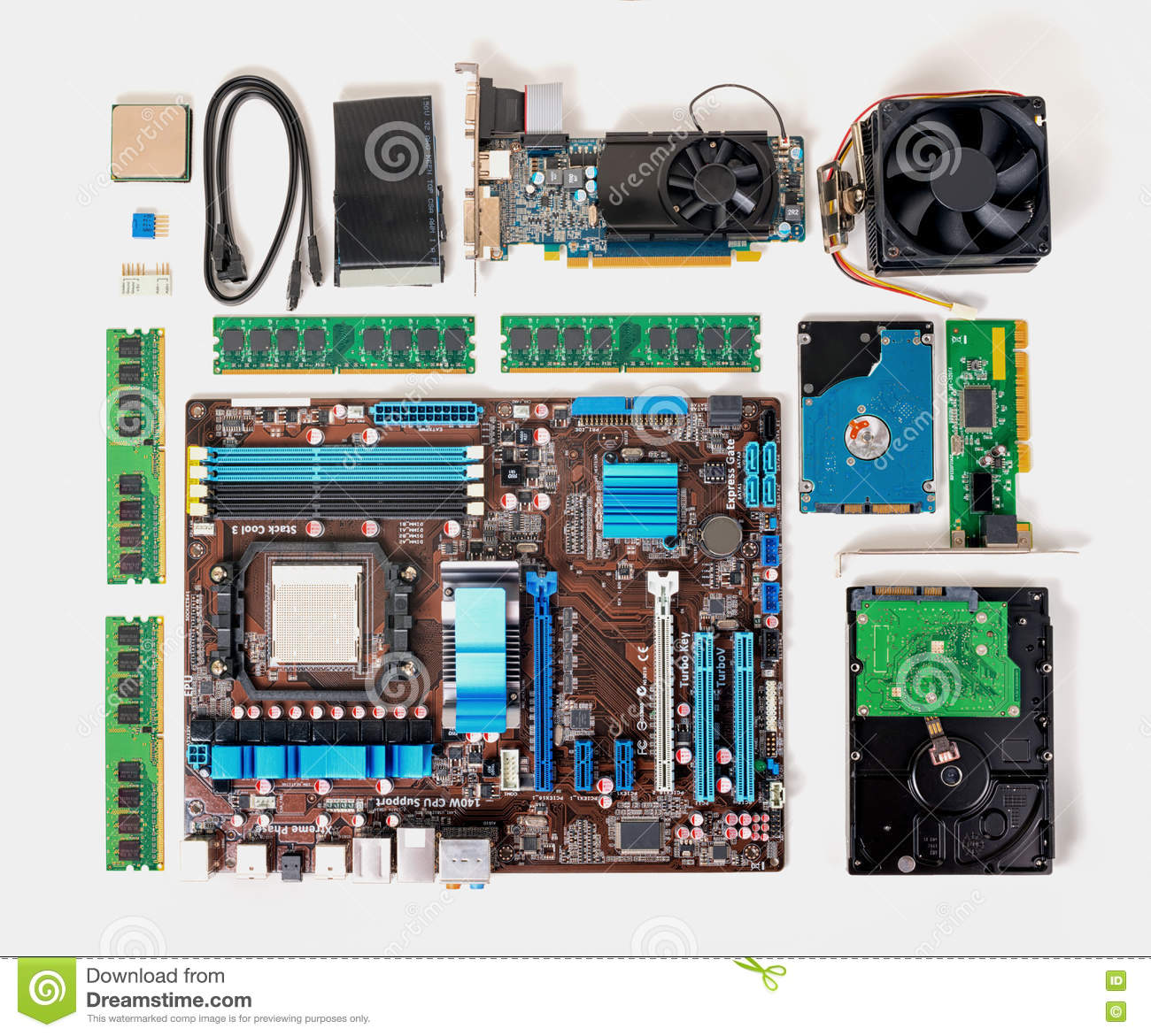 Flat lay of disassembled pc computer, laptop, concept of repair