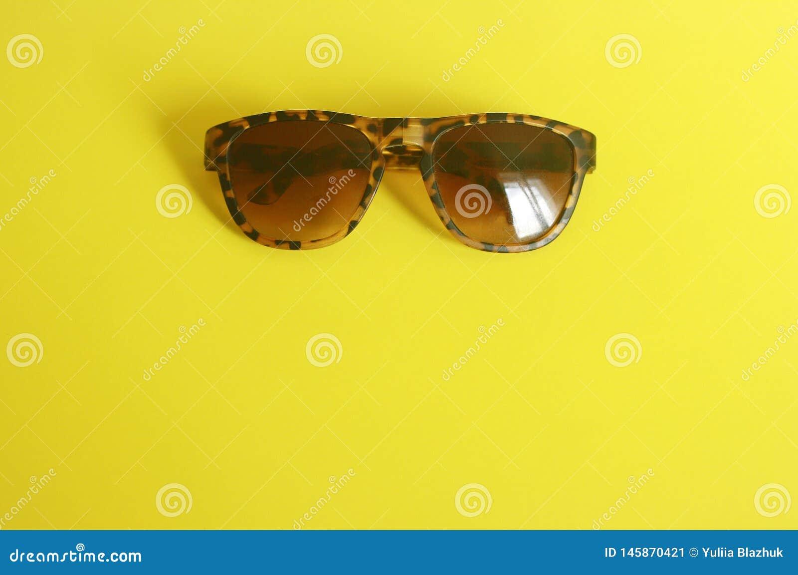 Fashionable animal print sunglasses on yellow background