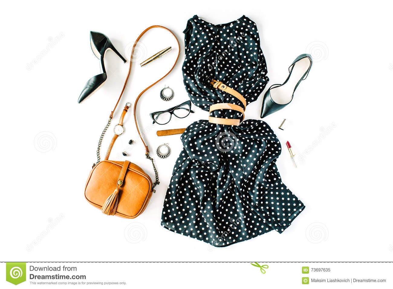 Flat lay feminine clothes and accessories collage with black dress, glasses, high heel shoes, purse, watch, mascara, lipstick, ear