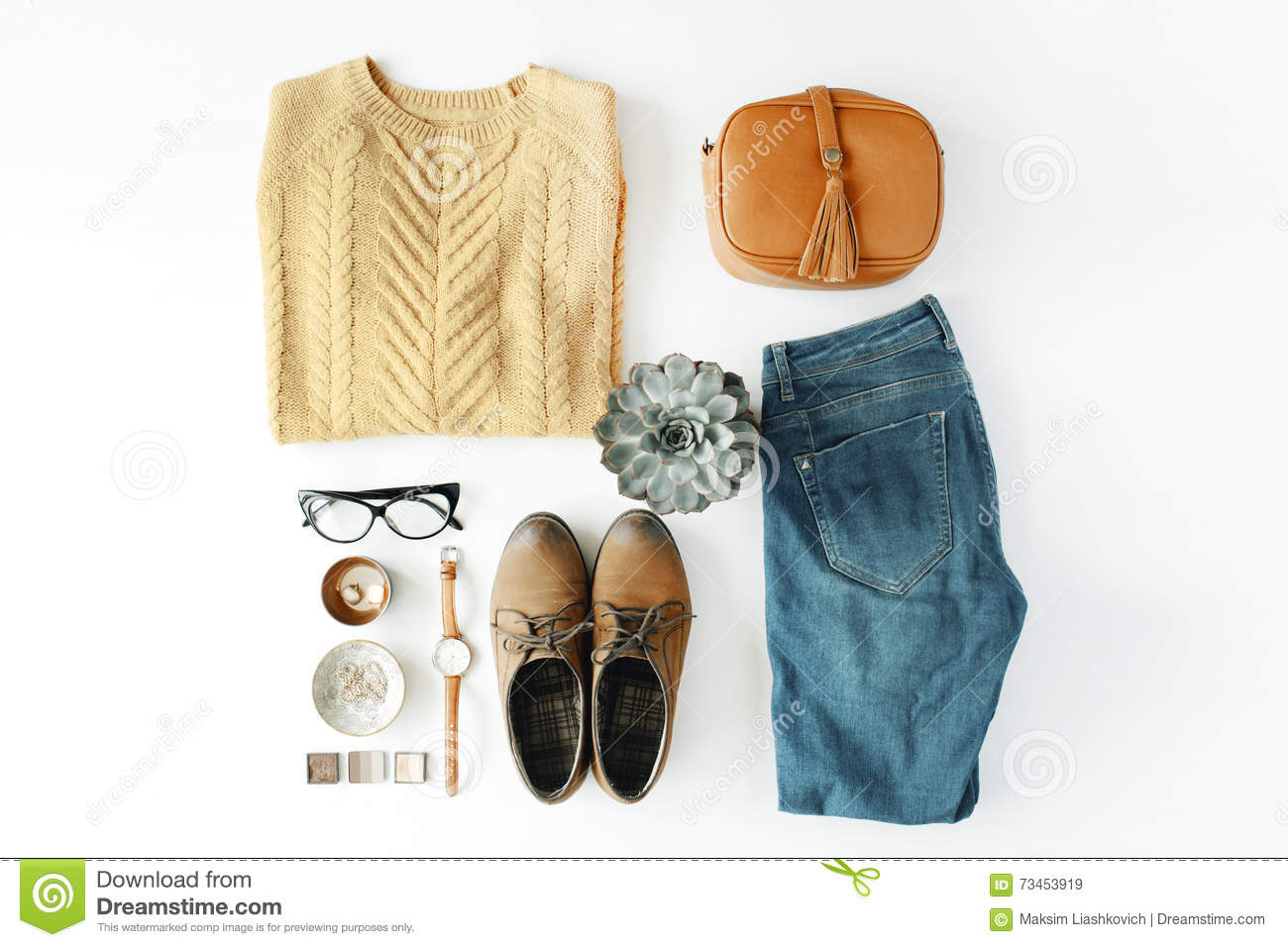 d30871066cad Flat lay feminine clothes and accessories collage with brown cardigan, jeans,  glasses, watch