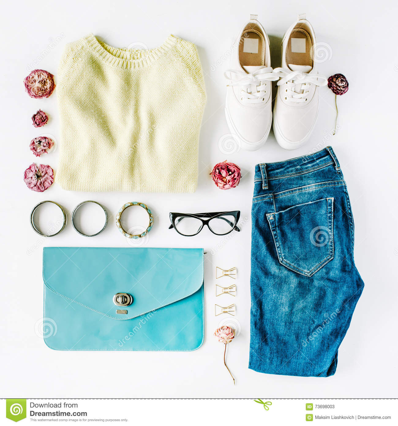 80c6009aff42 Flat lay feminine clothes and accessories collage with cardigan, jeans,  glasses, bracelet