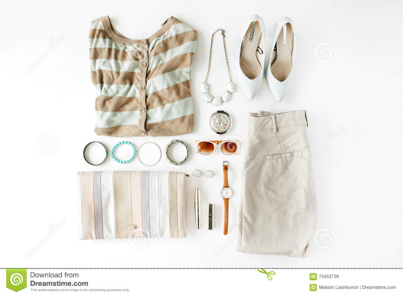 309b19b18586 Flat lay feminine clothes and accessories collage with cardigan, trousers,  sunglasses, watch,