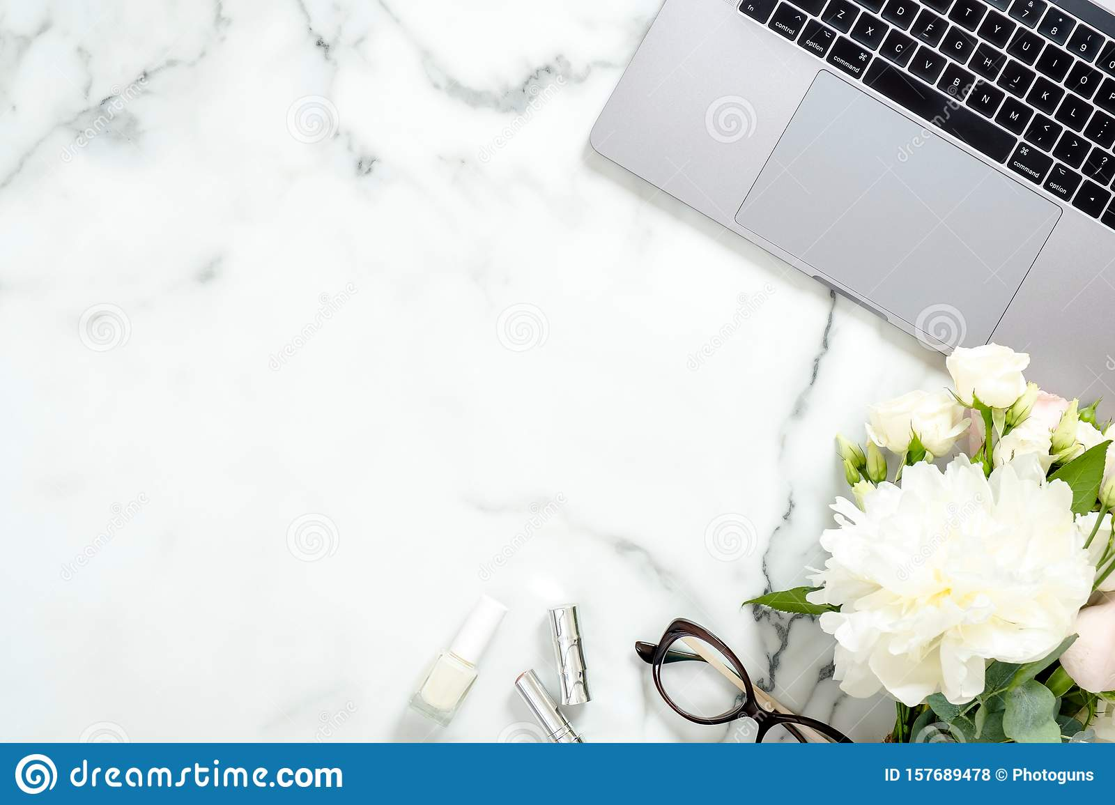 Flat Lay Home Office Desk Female Workspace With Laptop Computer White Flowers Bouquet Accessories Cosmetic On Marble Editorial Stock Photo Image Of Life Feminine 157689478