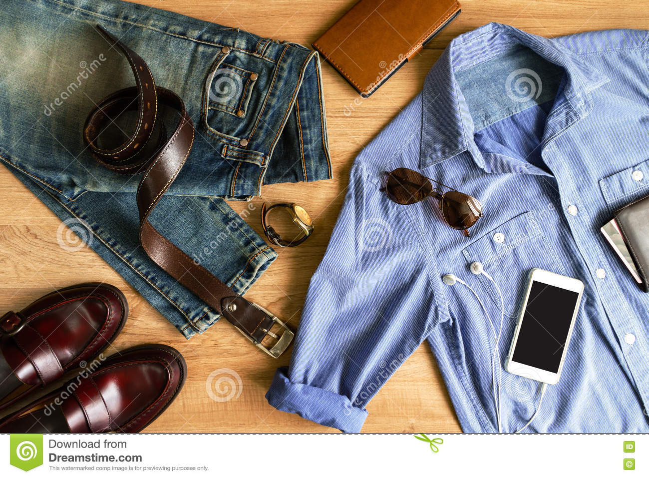 Flat Lay Of Men Casual Fashion Outfits On Wooden