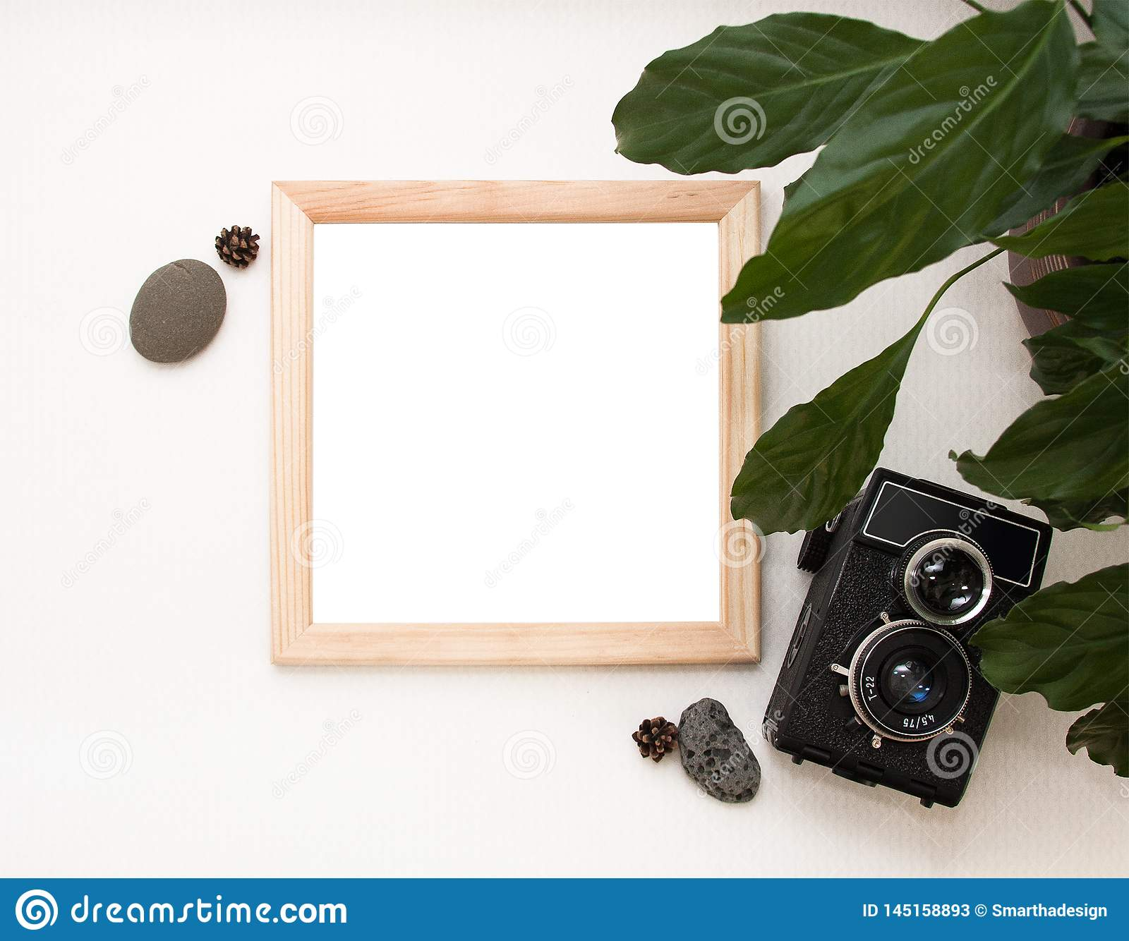 Flat lay mock up, top view, wooden frame, old camera, plant and stones. Interior layout, square poster mockup, wood frame.
