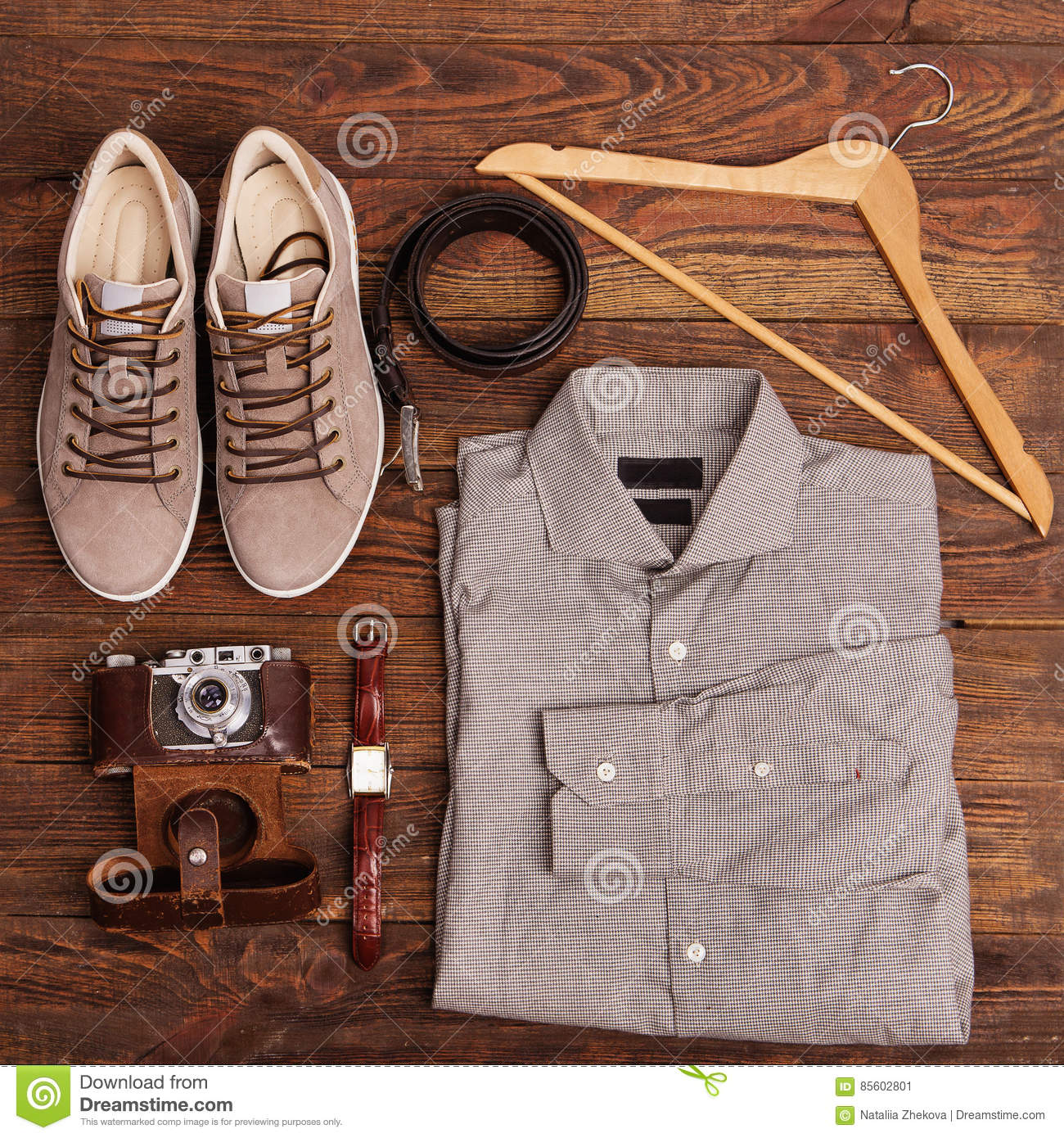 Flat Lay Of Modern Men`s Clothing On A Brown Wooden ...