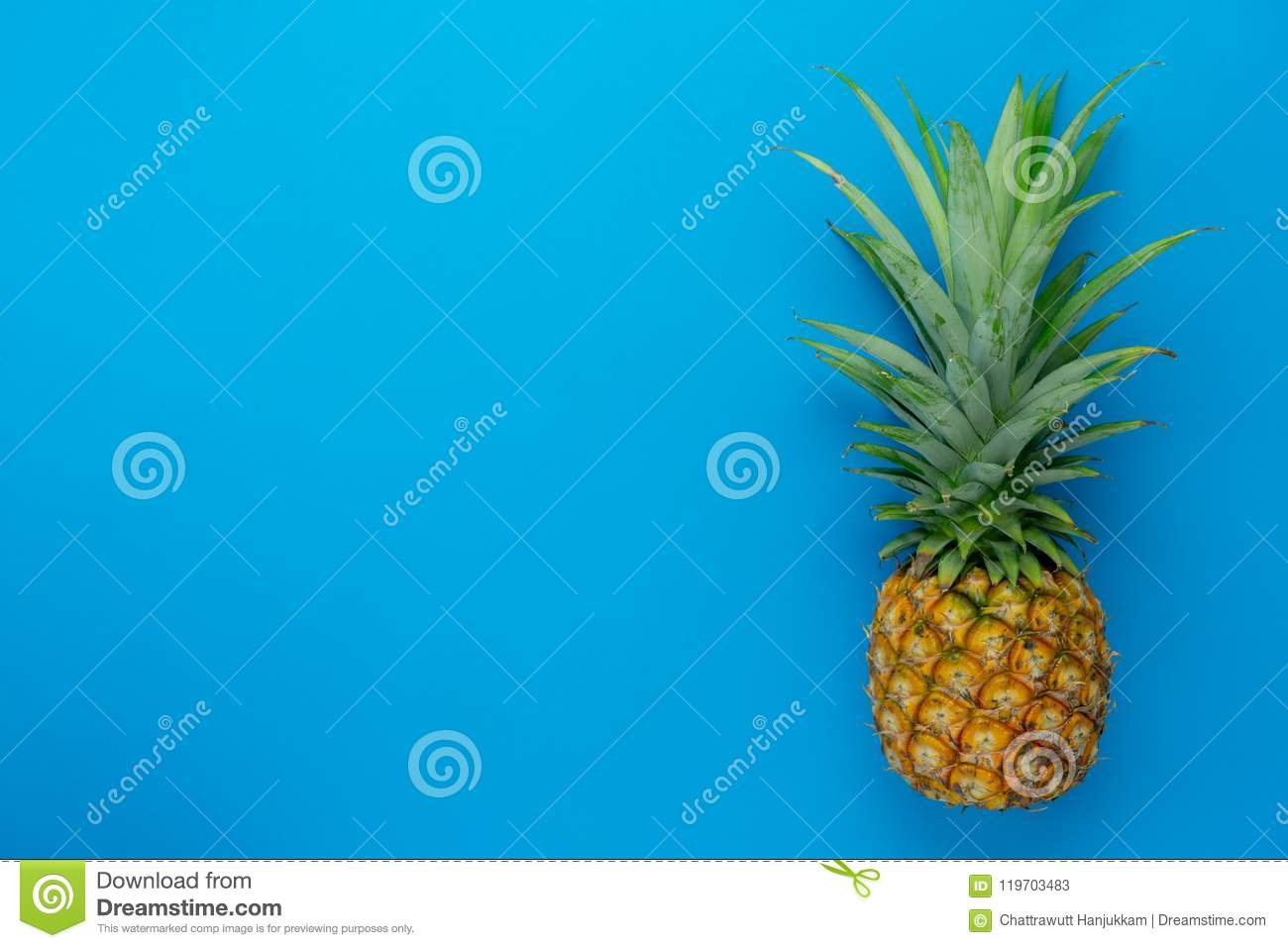 Download Flat Lay Object The Fresh Pineapple On Modern Rustic Blue Paper Wallpaper Stock Image