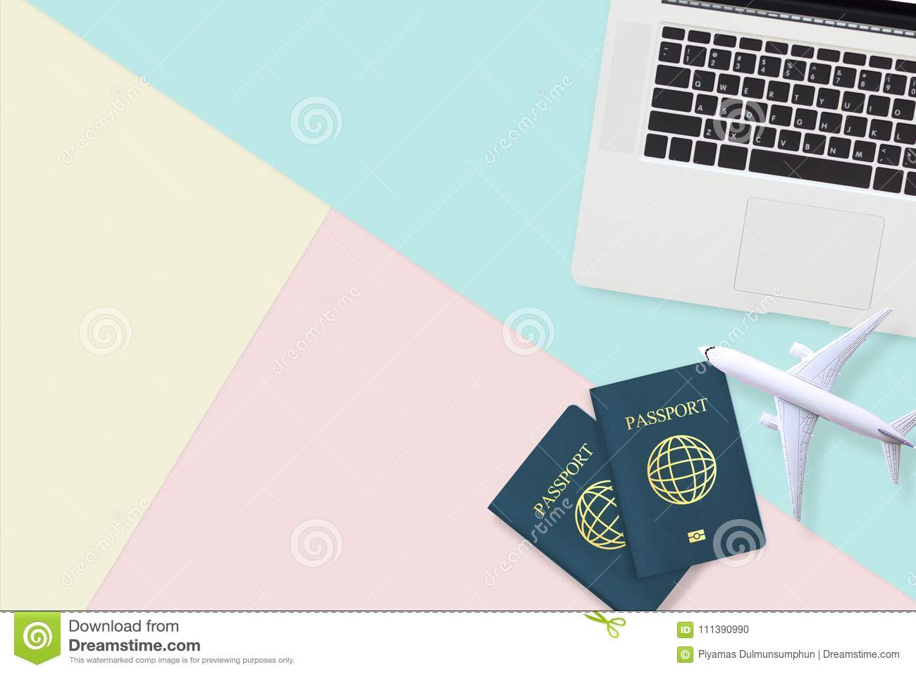 Flat Lay Of Passport , White Plane Model And Computer Laptop Stock