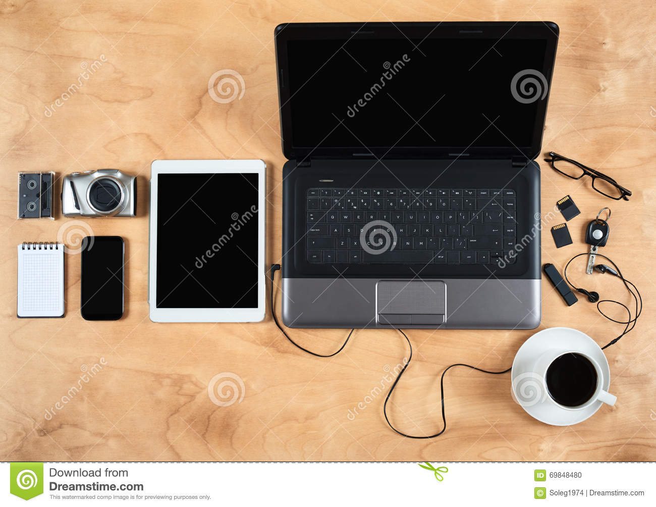 Flat Lay Of Personal Office Accessories, Laptop, Notebook, Coffee Cup And  Camera On