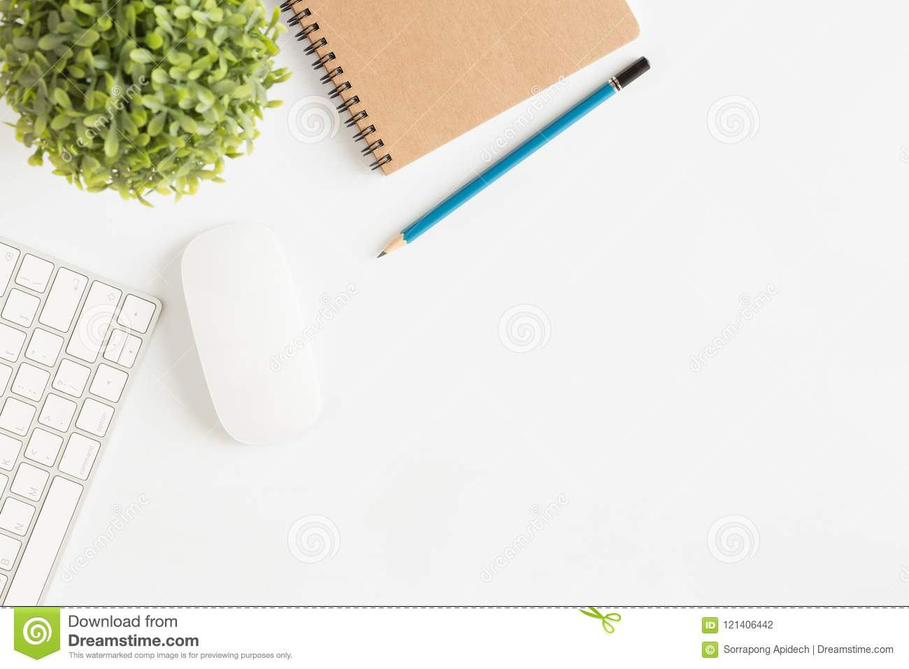 Flat lay photo of office desk with mouse and keyboard White cop