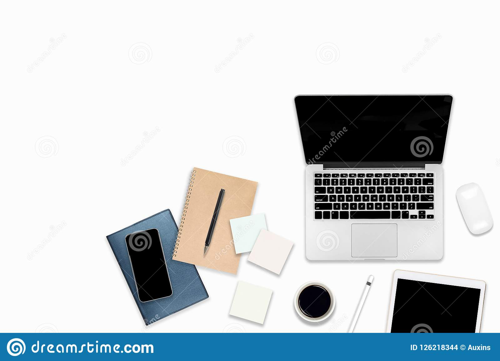 Flat Lay Photo Of Office Table With Laptop Computer, Digital Tablet, Mobile  Phone And Accessories. On Isolated White Background.