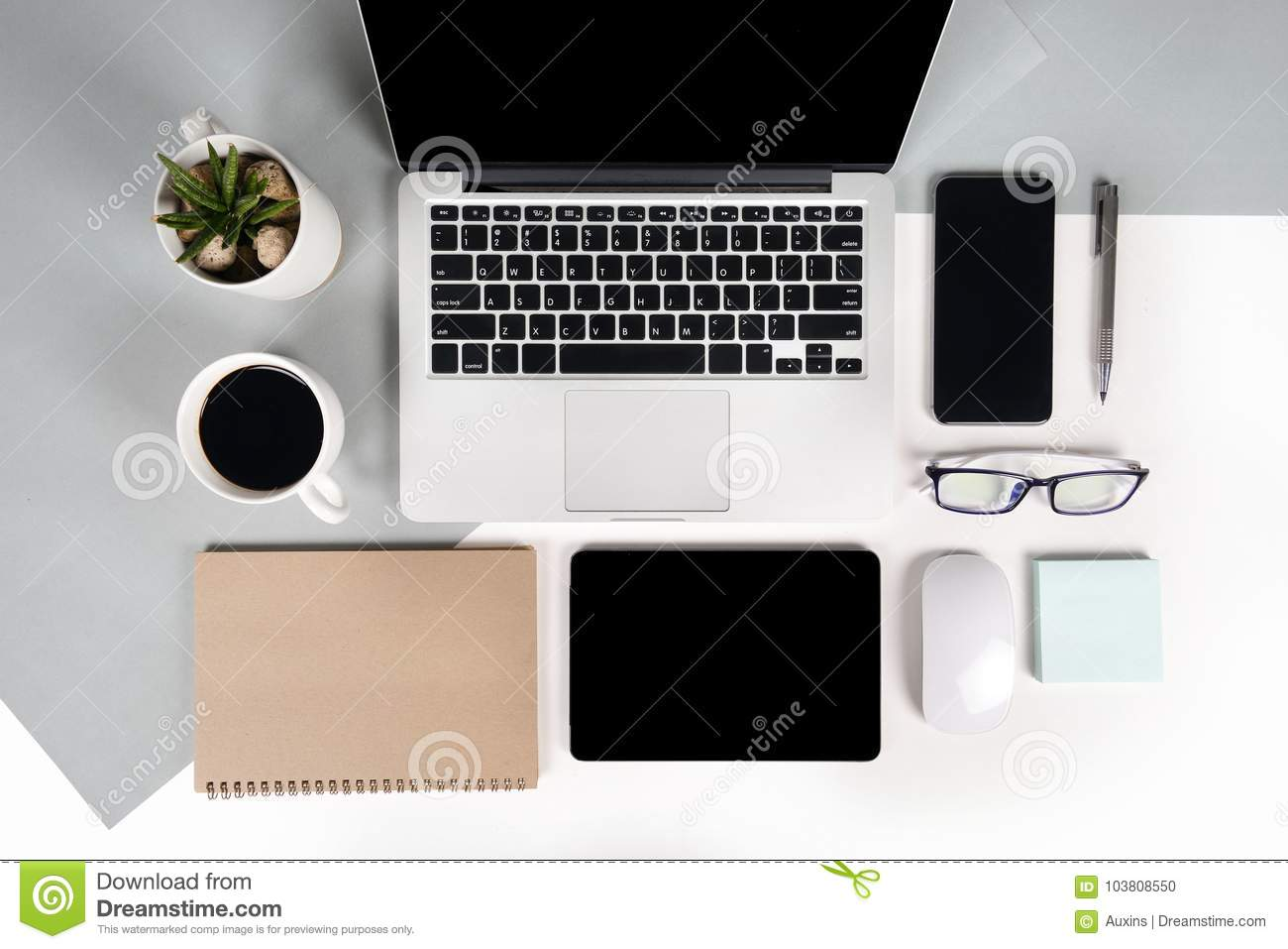 office desk laptop computer notebook mobile. Royalty-Free Stock Photo. Download Flat Lay Photo Of Office Table With Laptop Computer, Notebook Desk Computer Mobile