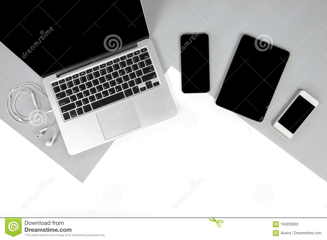 office desk laptop computer notebook mobile. Royalty-Free Stock Photo. Download Flat Lay Photo Of Office Table With Laptop Computer, Notebook Desk Computer Mobile M