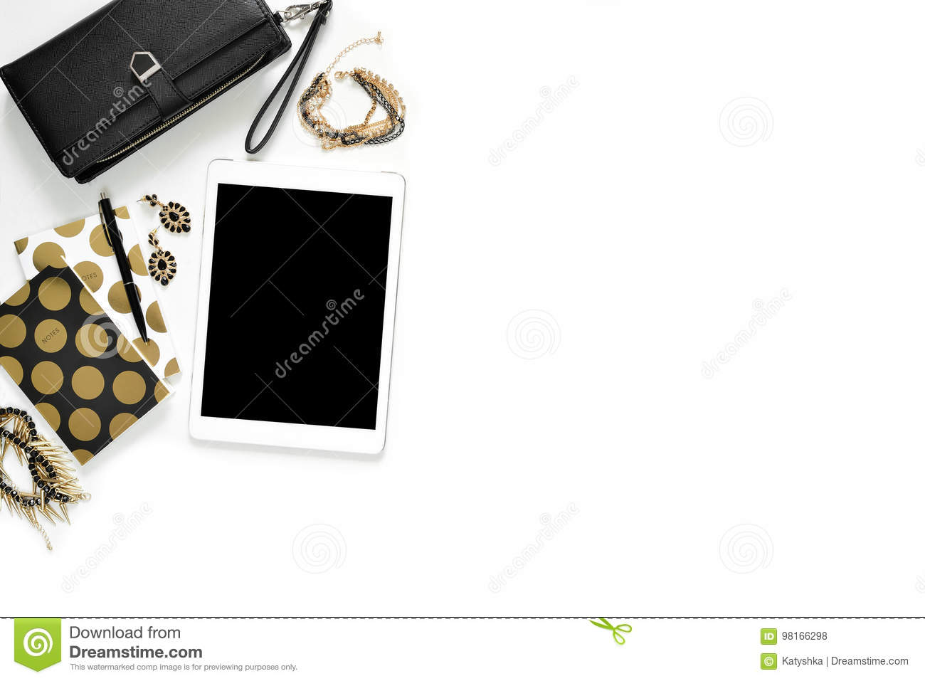 Flat lay photo of stylish office white desk with wallet, Women`s jewelry, tablet and gold notebook copy space background