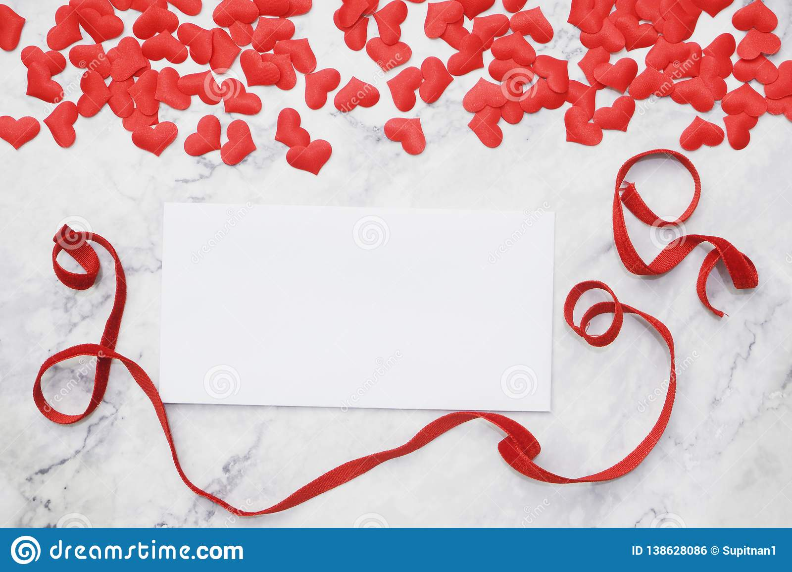 Flat-lay background for Valentine`s Day, love, hearts, gift box Copy space