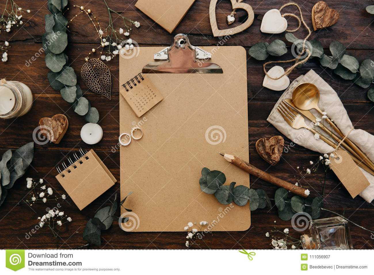 Flat Lay Wedding Planning Craft Clipboard With Rustic Decorations