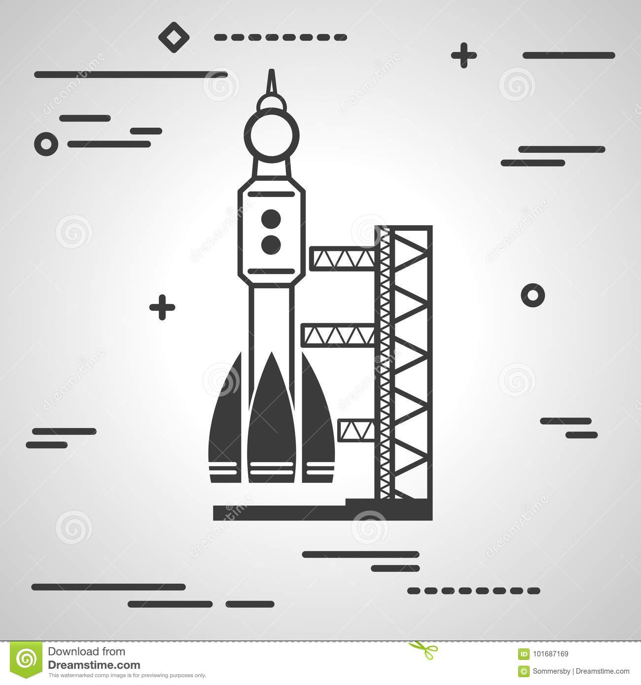 Flat Line art design graphic image concept of black launch site