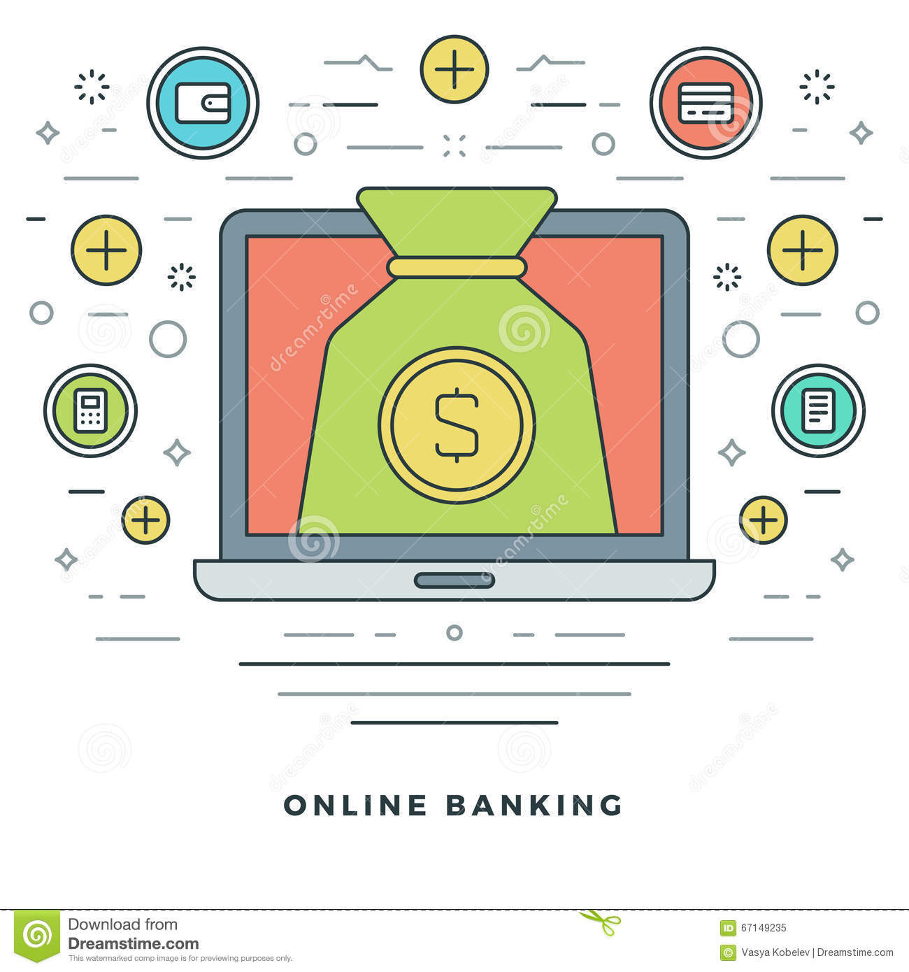 Financial Management: Flat Line Banking And Financial Management Concept Vector