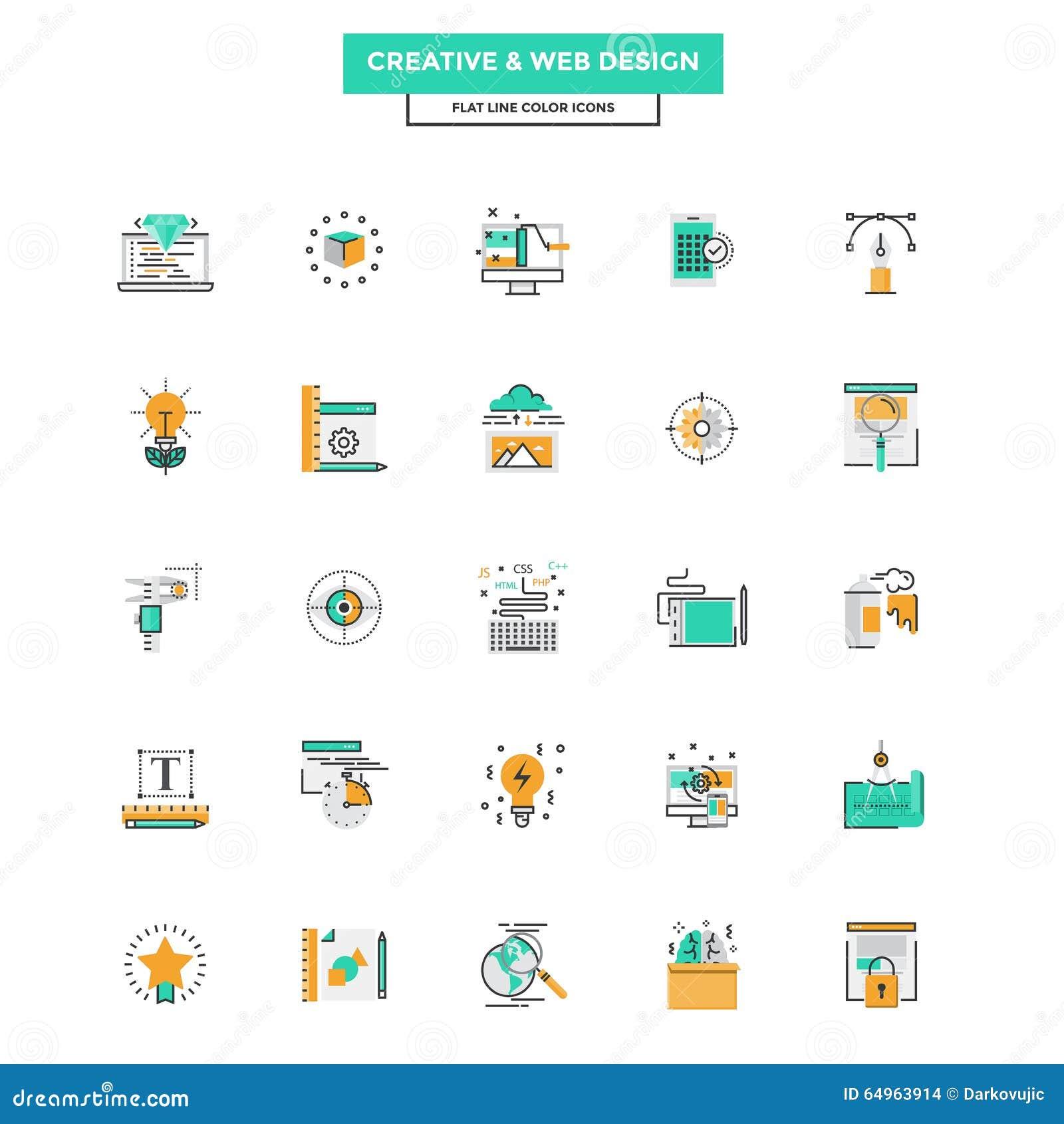 Modern colors web design - Flat Line Color Icons Web Design