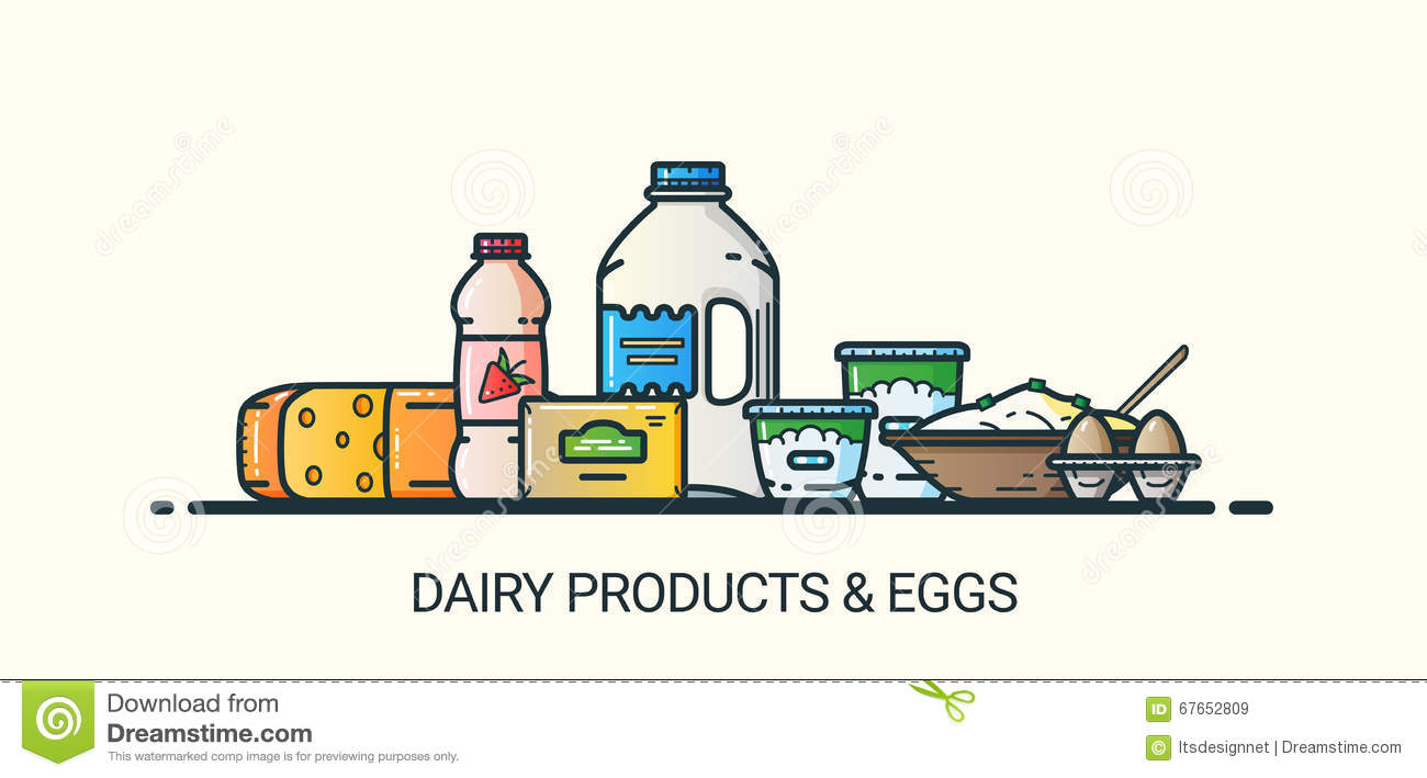 Flat line dairy products banner stock vector