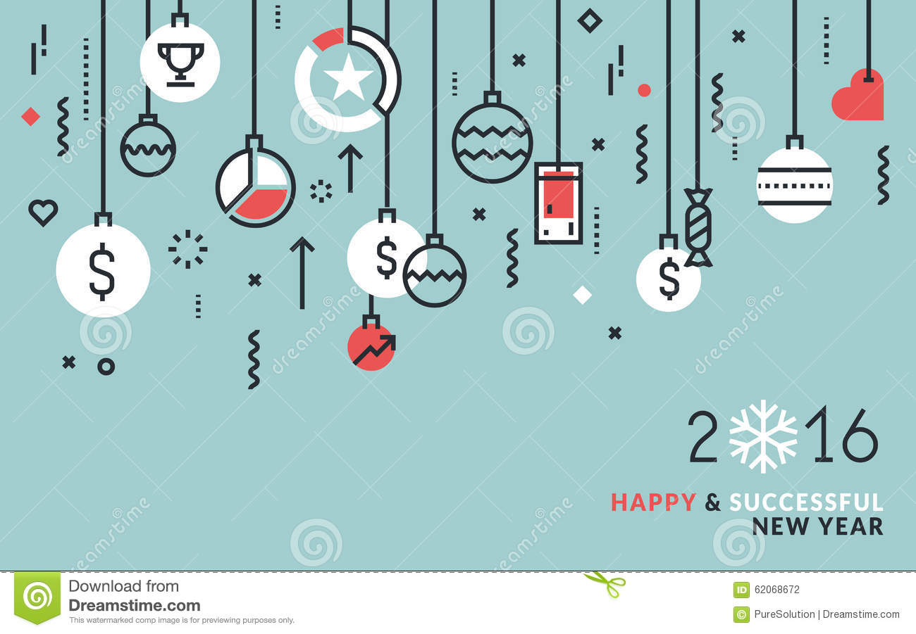 flat line design business concept for new year s greeting card