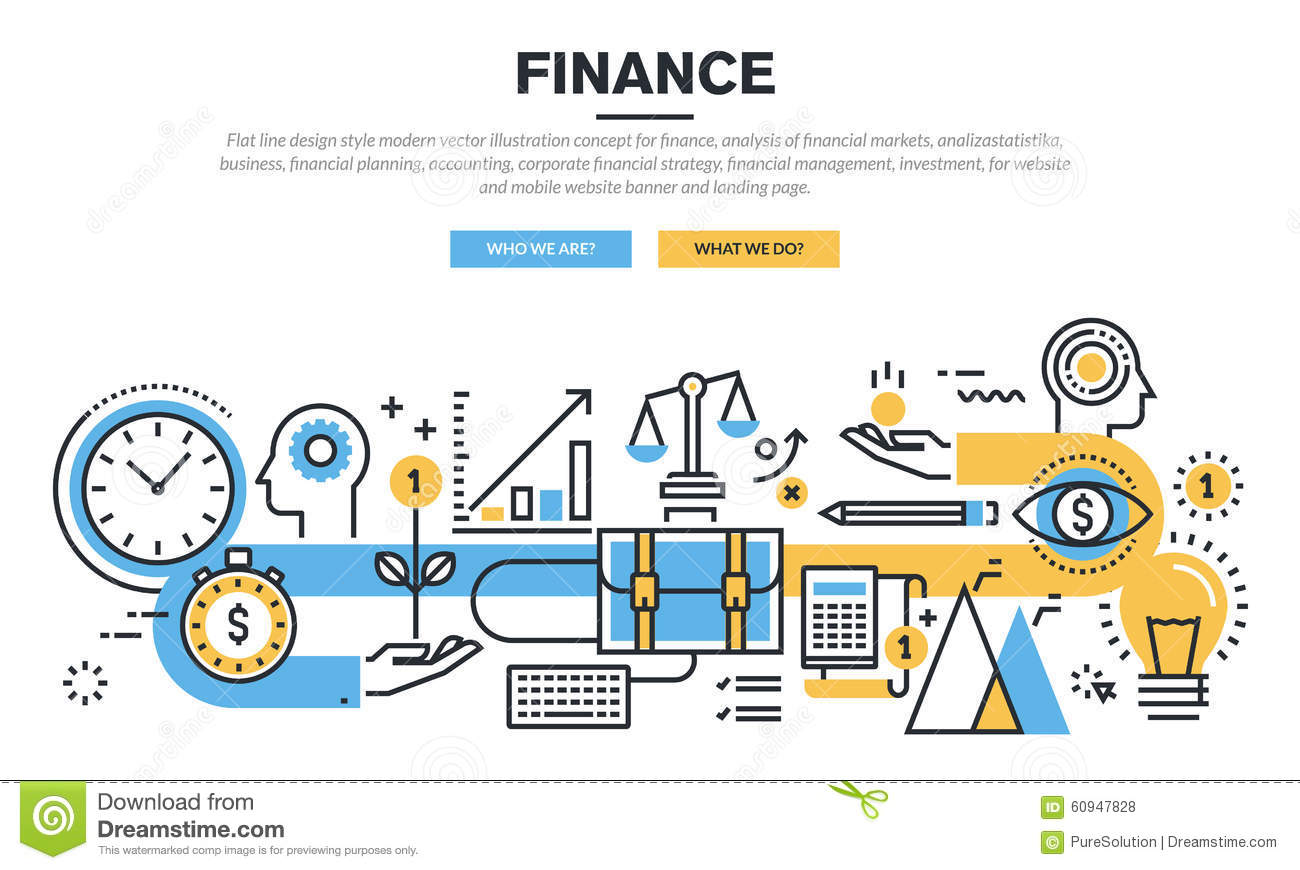 Banner Design Ideas Flat Line Design Concept For Finance Stock Vector
