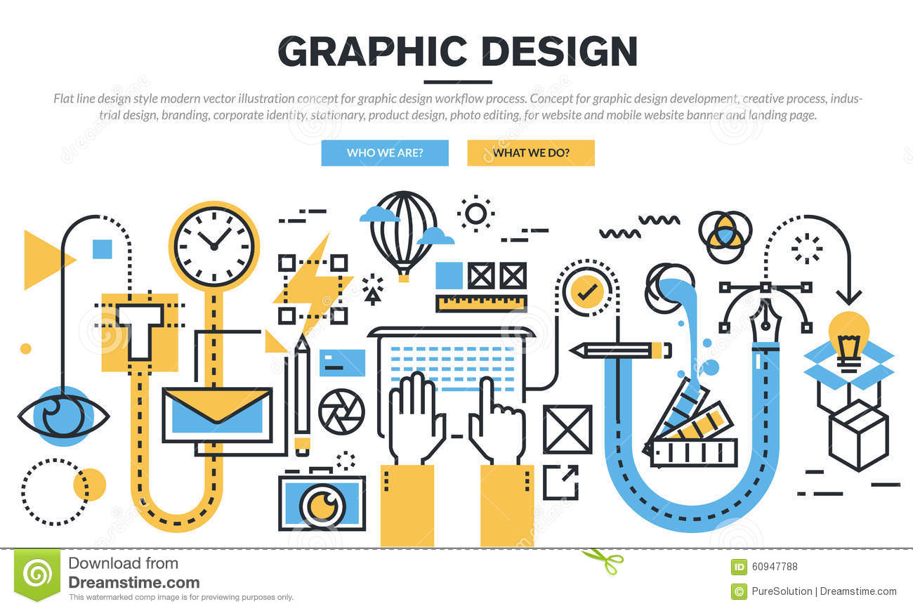 Flat Line Design Concept For Graphic Design Workflow