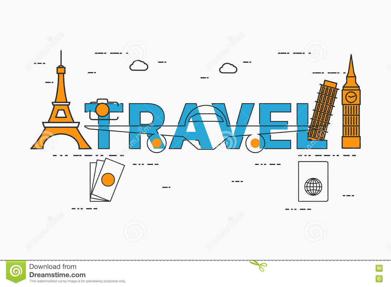 Book Cover Design Elements : Flat line design travel concept with icons and elements