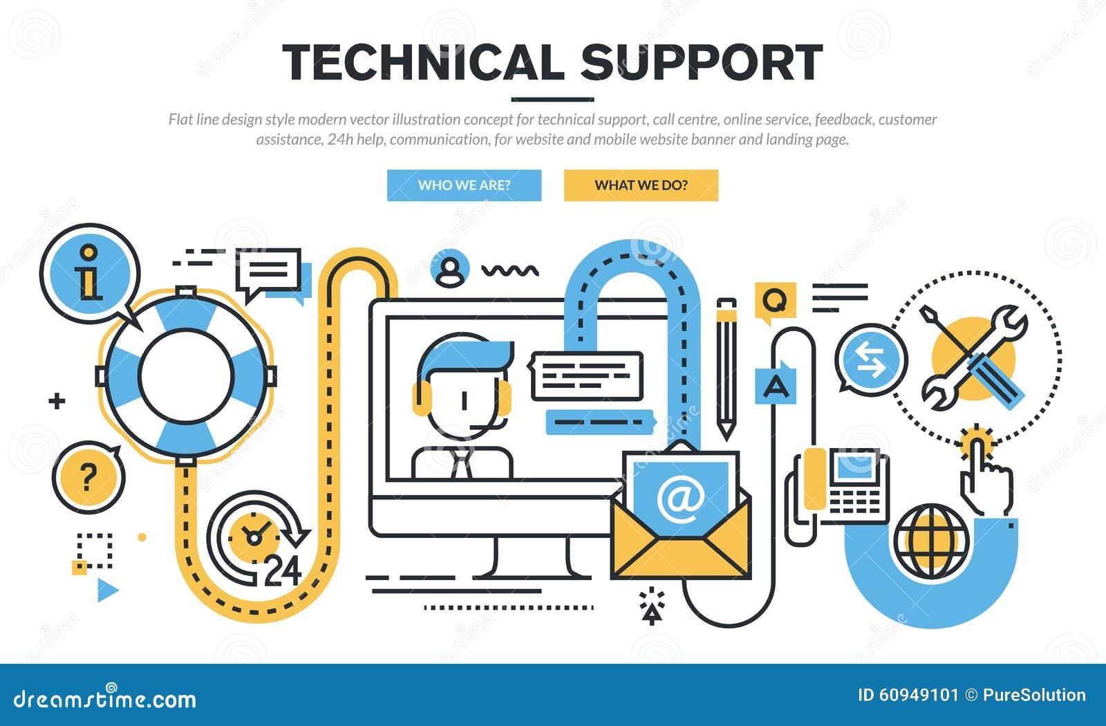 Flat line design vector illustration concept for technical for Online architect services