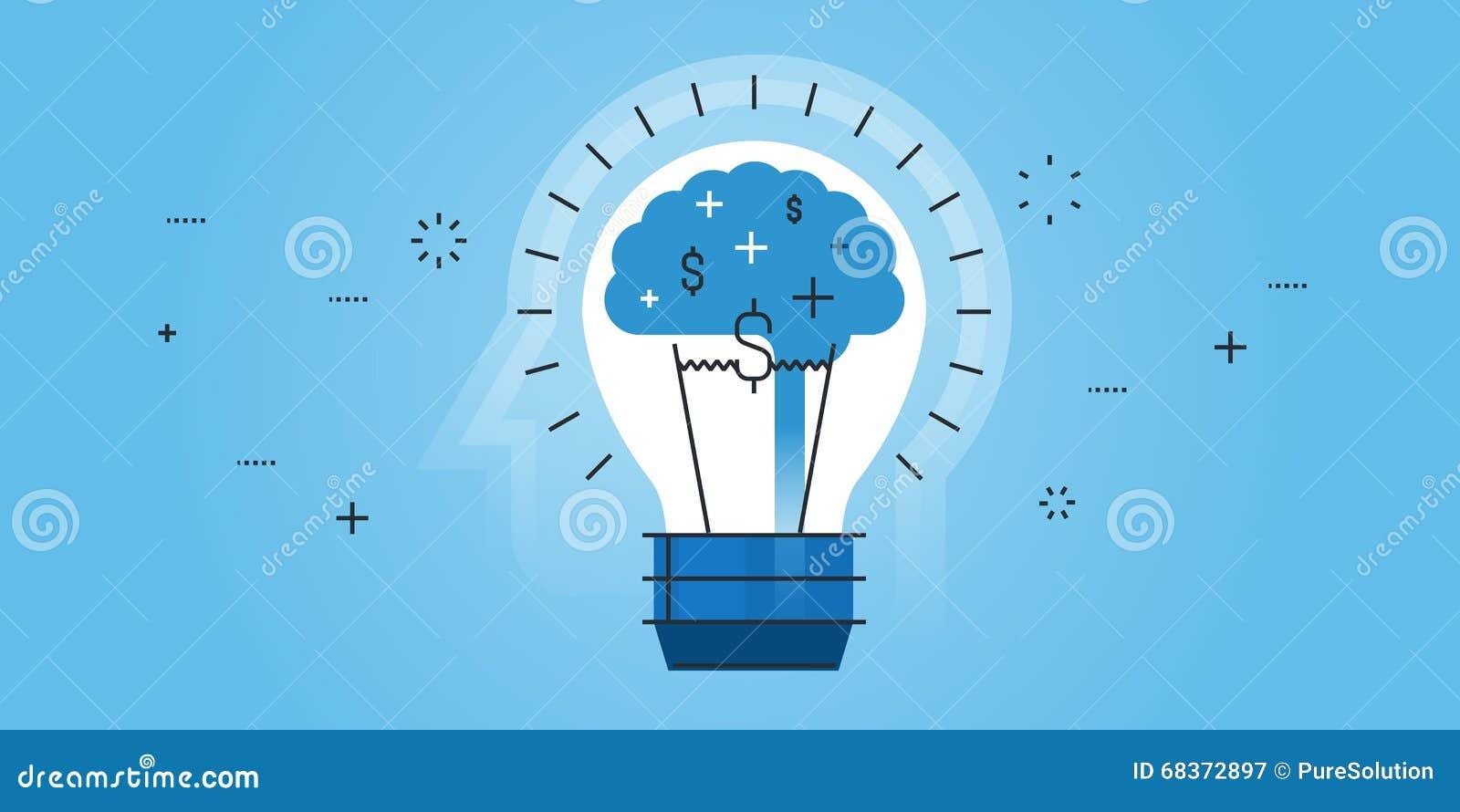 Line Design Ideas : Flat line design website banner of big idea stock vector