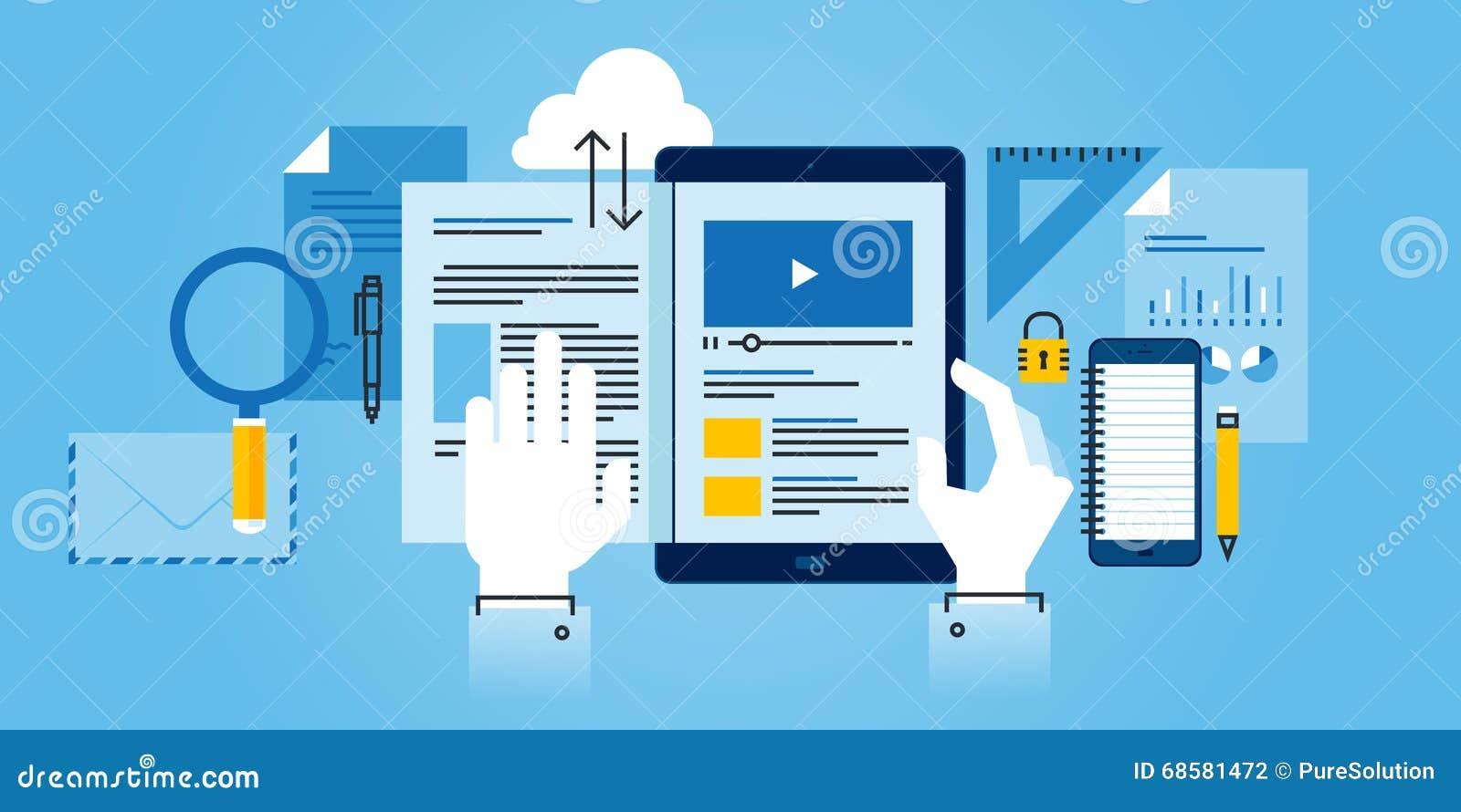 flat line design website banner of e learning stock vector