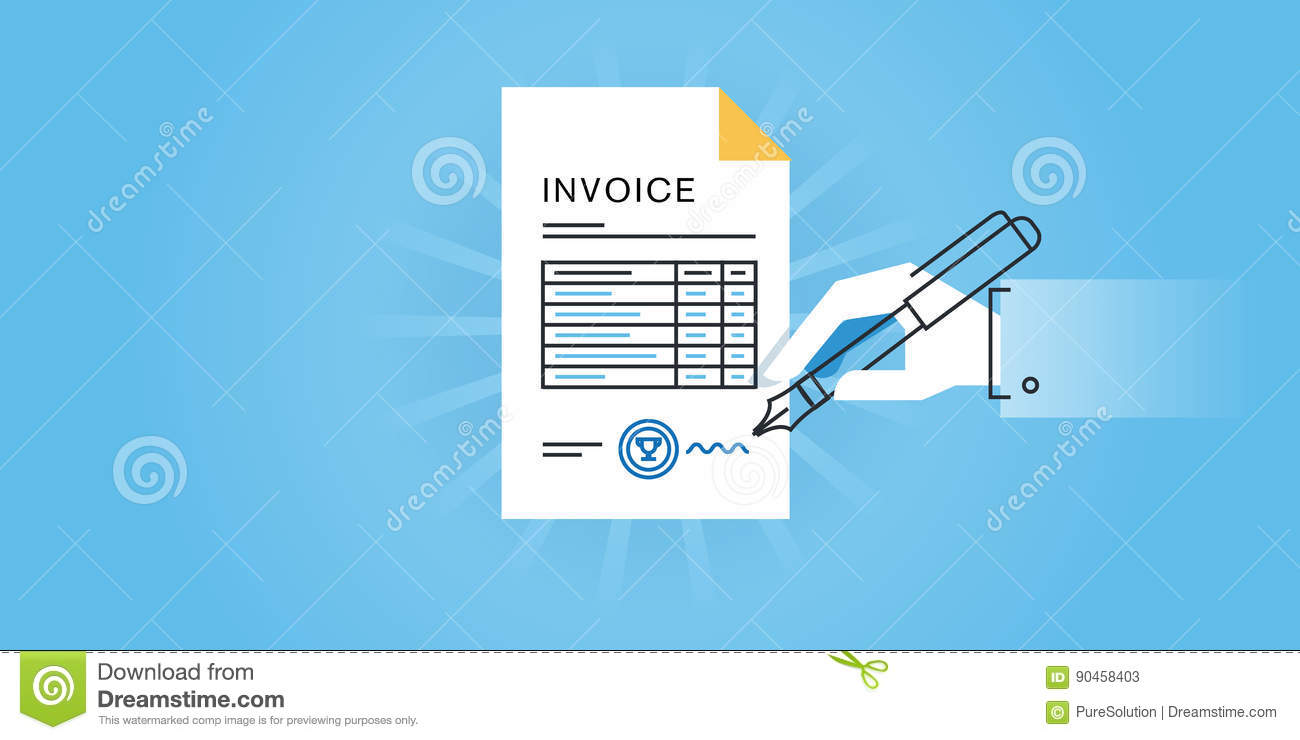 flat line design website banner for an invoice online invoice generator invoice software
