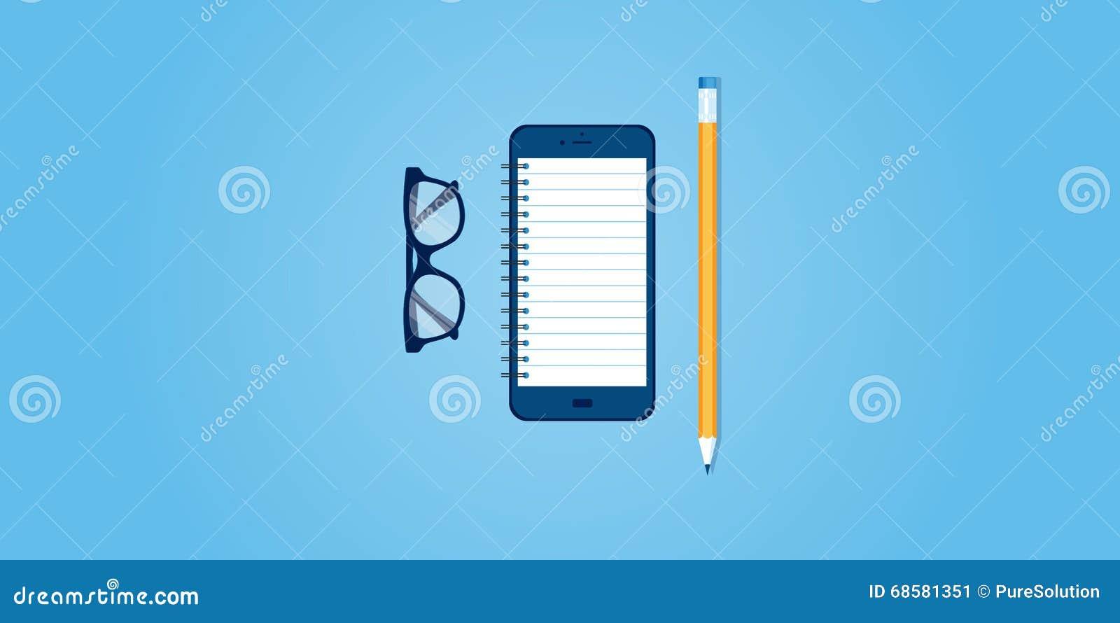 Flat Line Design Website Banner Of Mobile Reminder Stock Vector ...