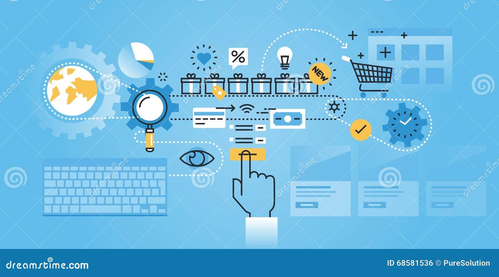 flat line design website banner of ecommerce stock vector  image