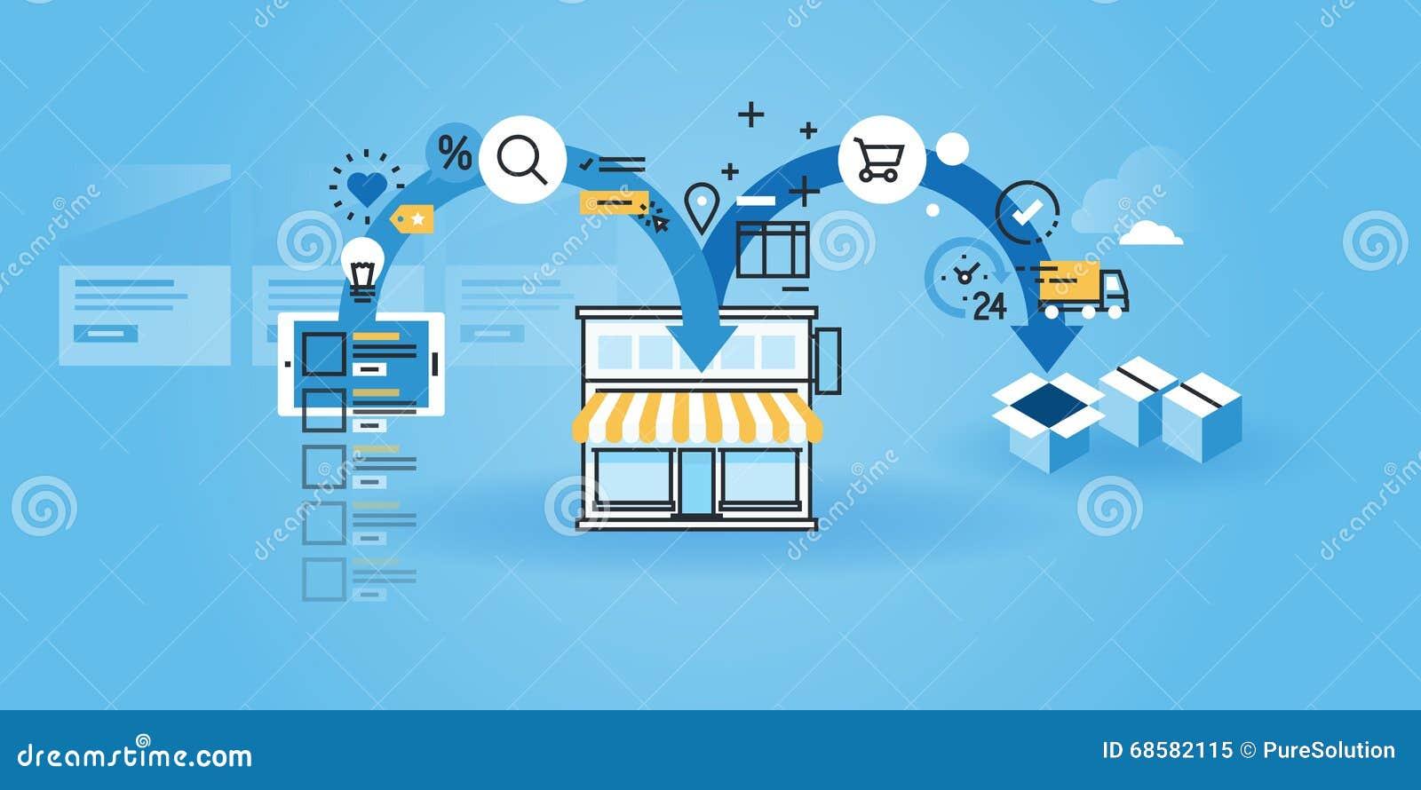 flat line design website banner of online shopping procedure stock