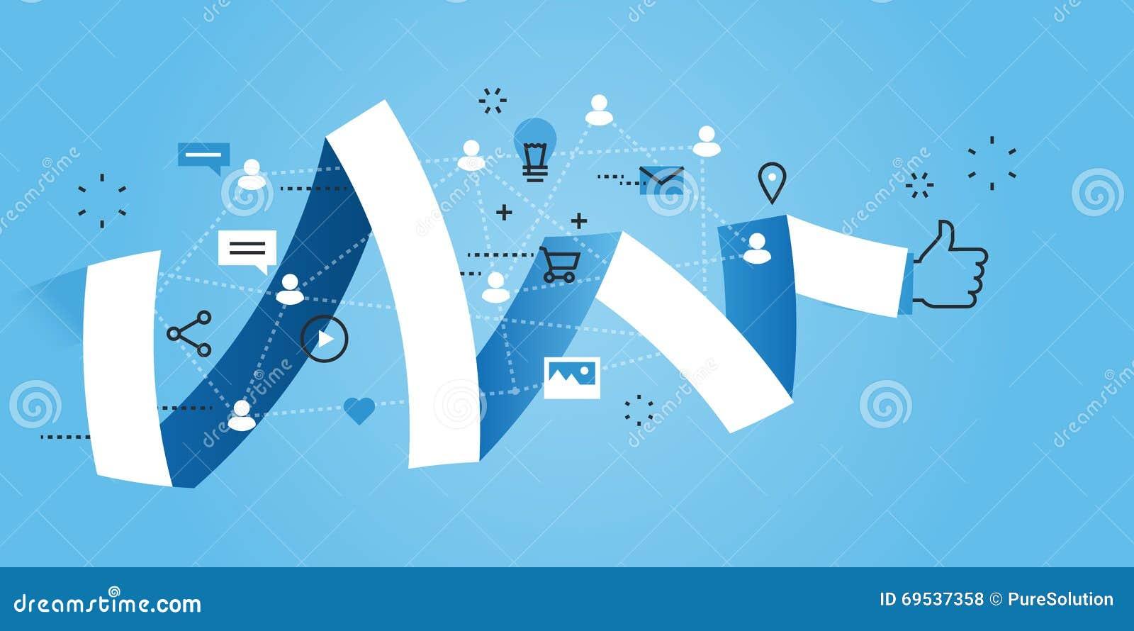 flat line design website banner of social media stock vector