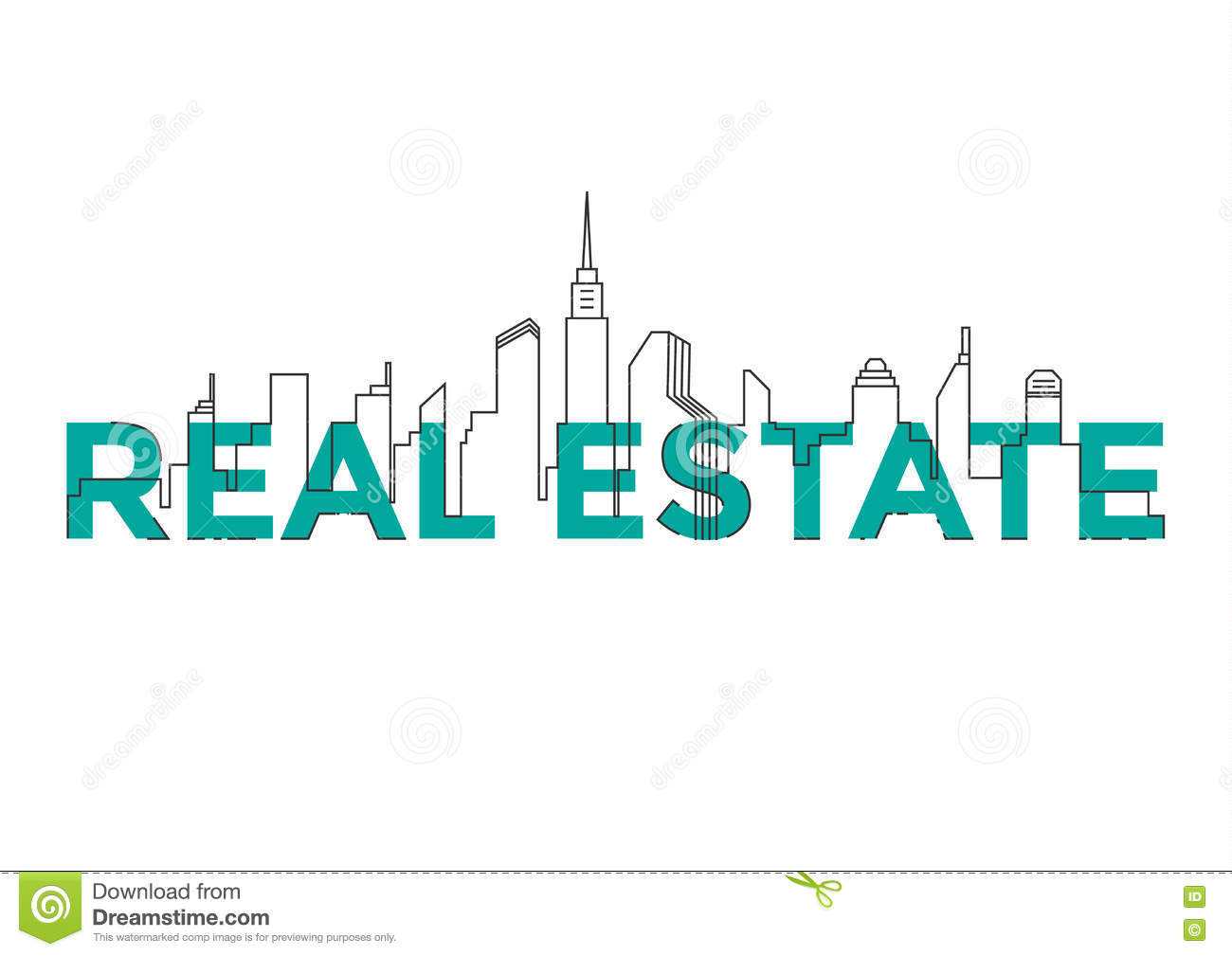 Real Estate Book Cover Design : Flat line design word real estate with buildings and