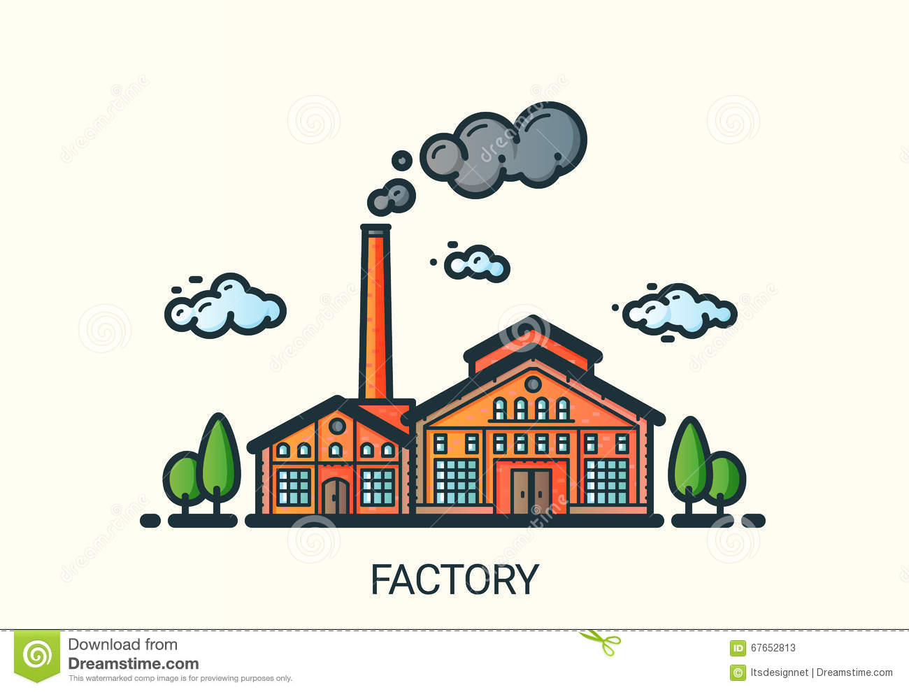 Flat Line Factory Illustration Stock Vector - Illustration ...