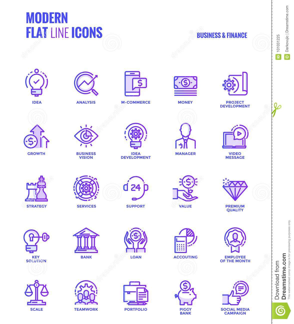 Flat line gradient icons design-Business and Finance