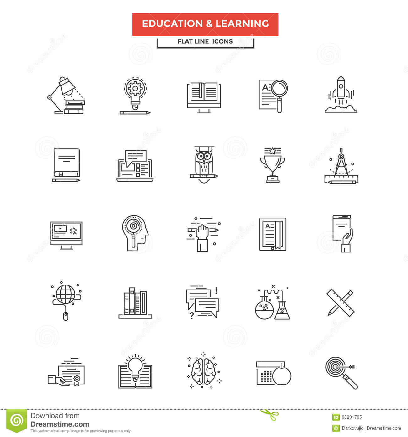 Flat Line Icons - Education And Learning Stock Vector