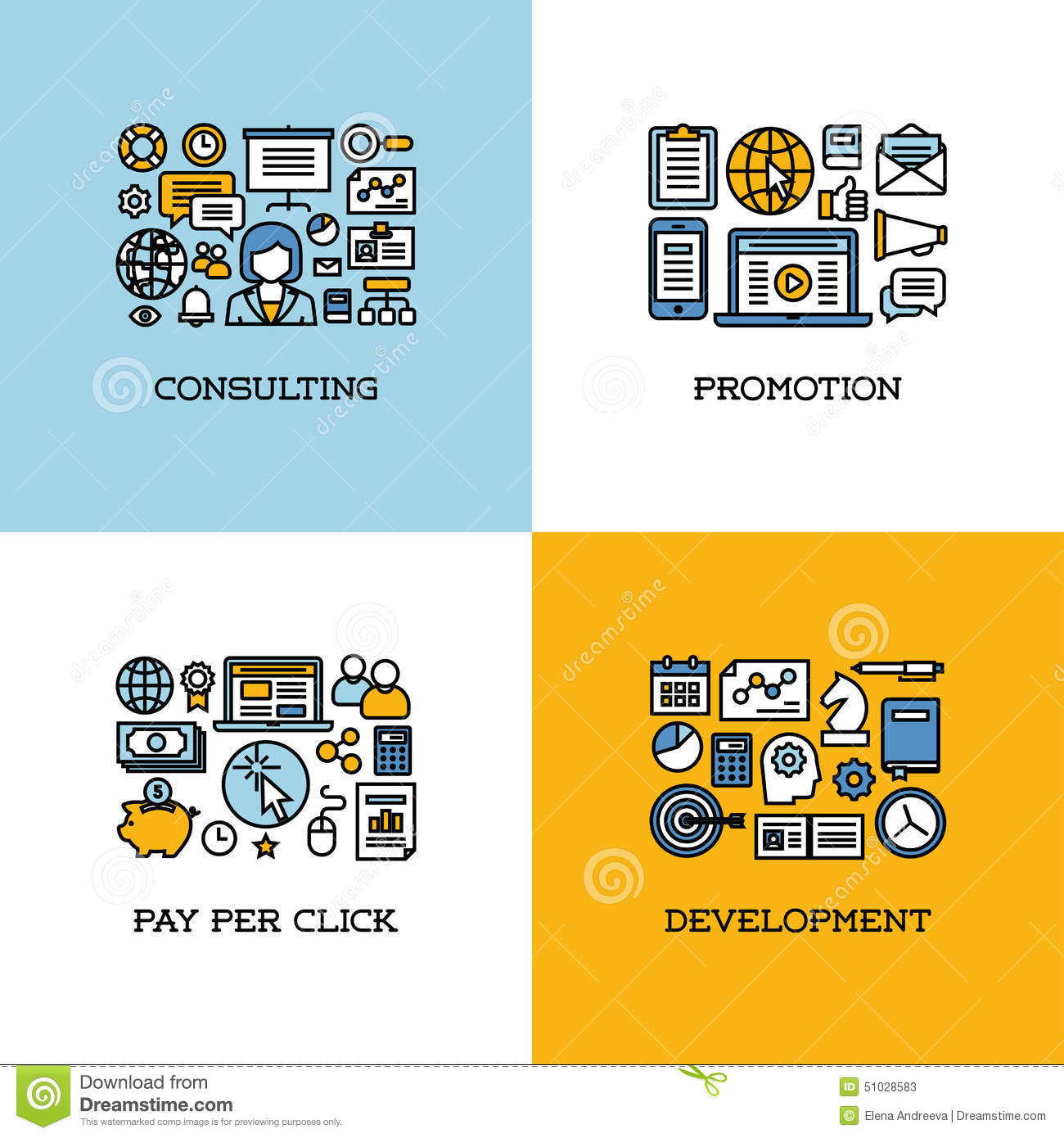 Flat line icons set of consulting promotion pay per for Design and development consultants