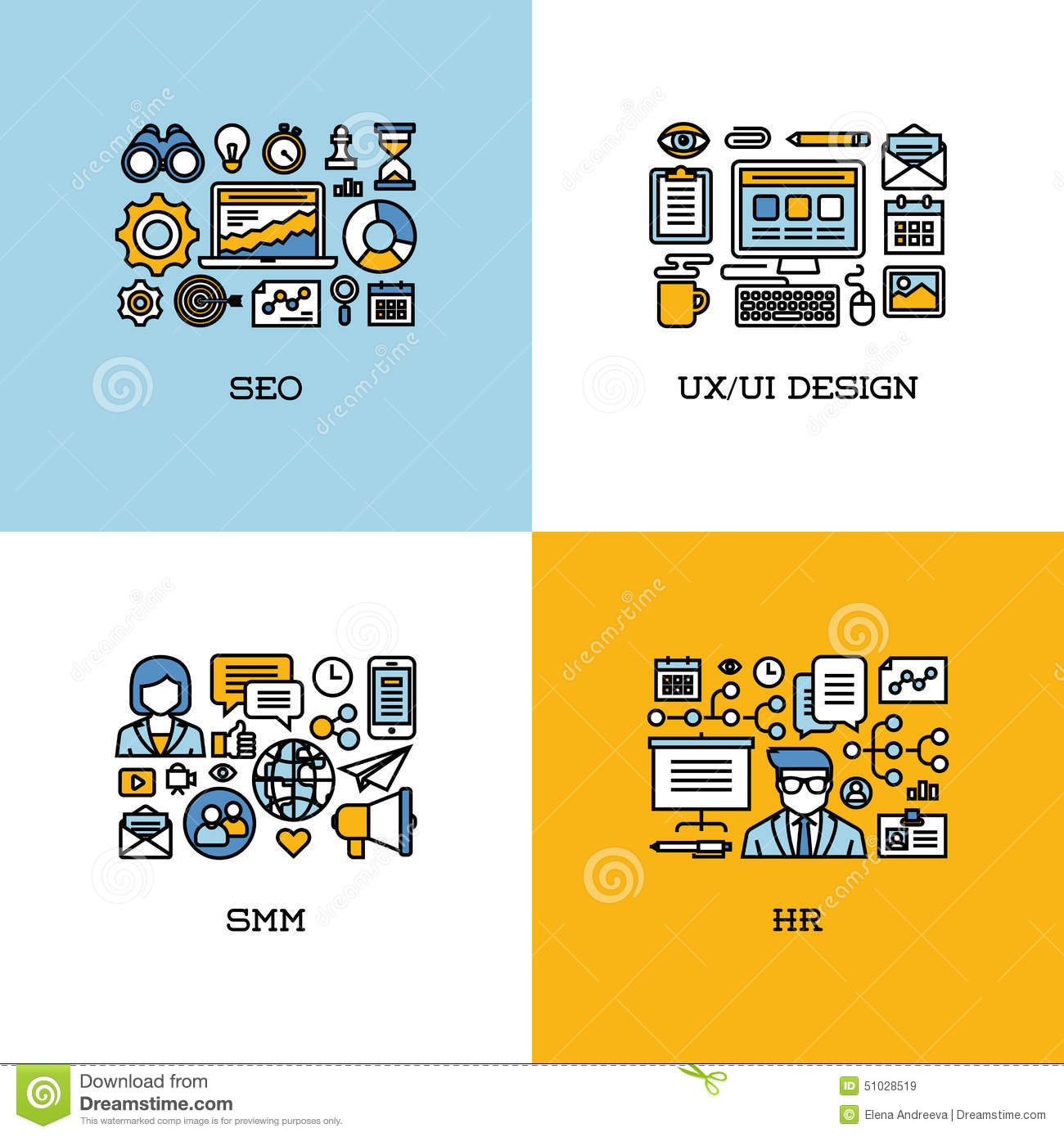 Flat Line Icons Set Of SEO, UI And UX Design, SMM, HR