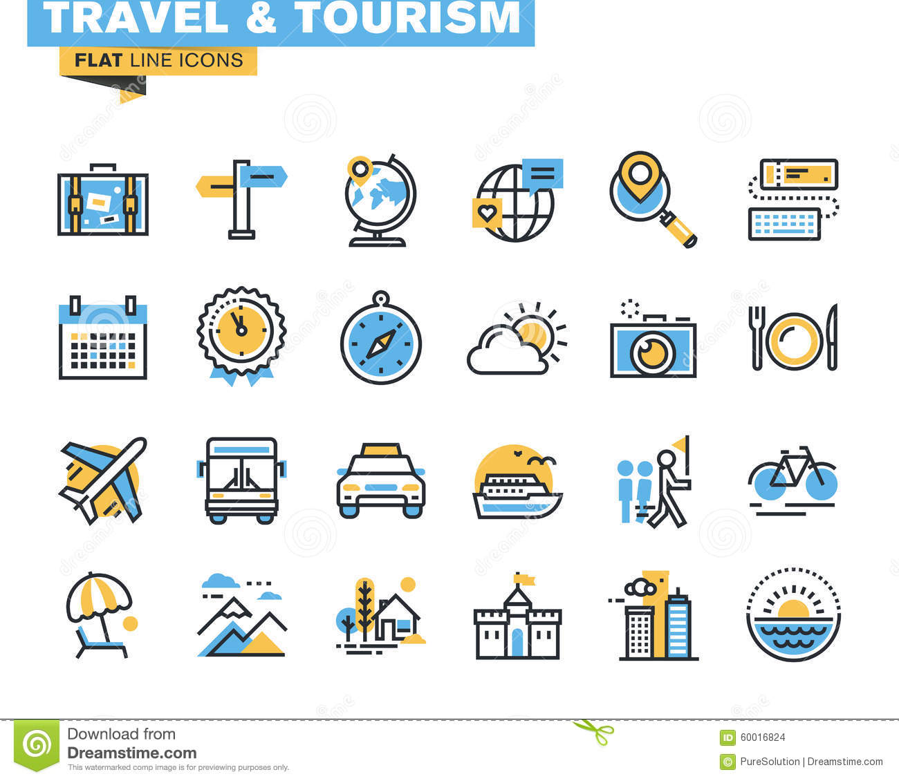 Flat line icons set of travel and tourism