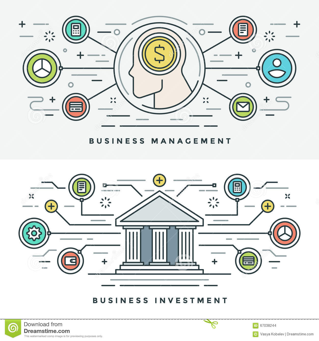 Flat line Investment and Business Management Concept Vector illustration. Modern thin linear stroke vector icons.