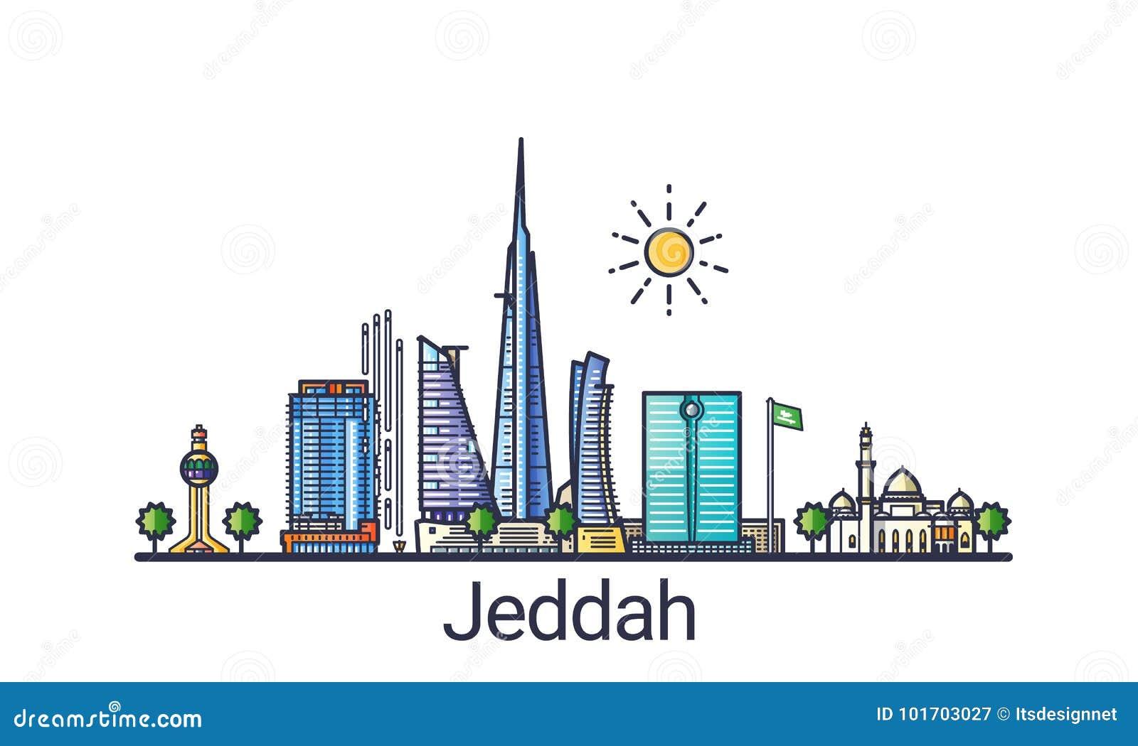 Flat line Jeddah banner