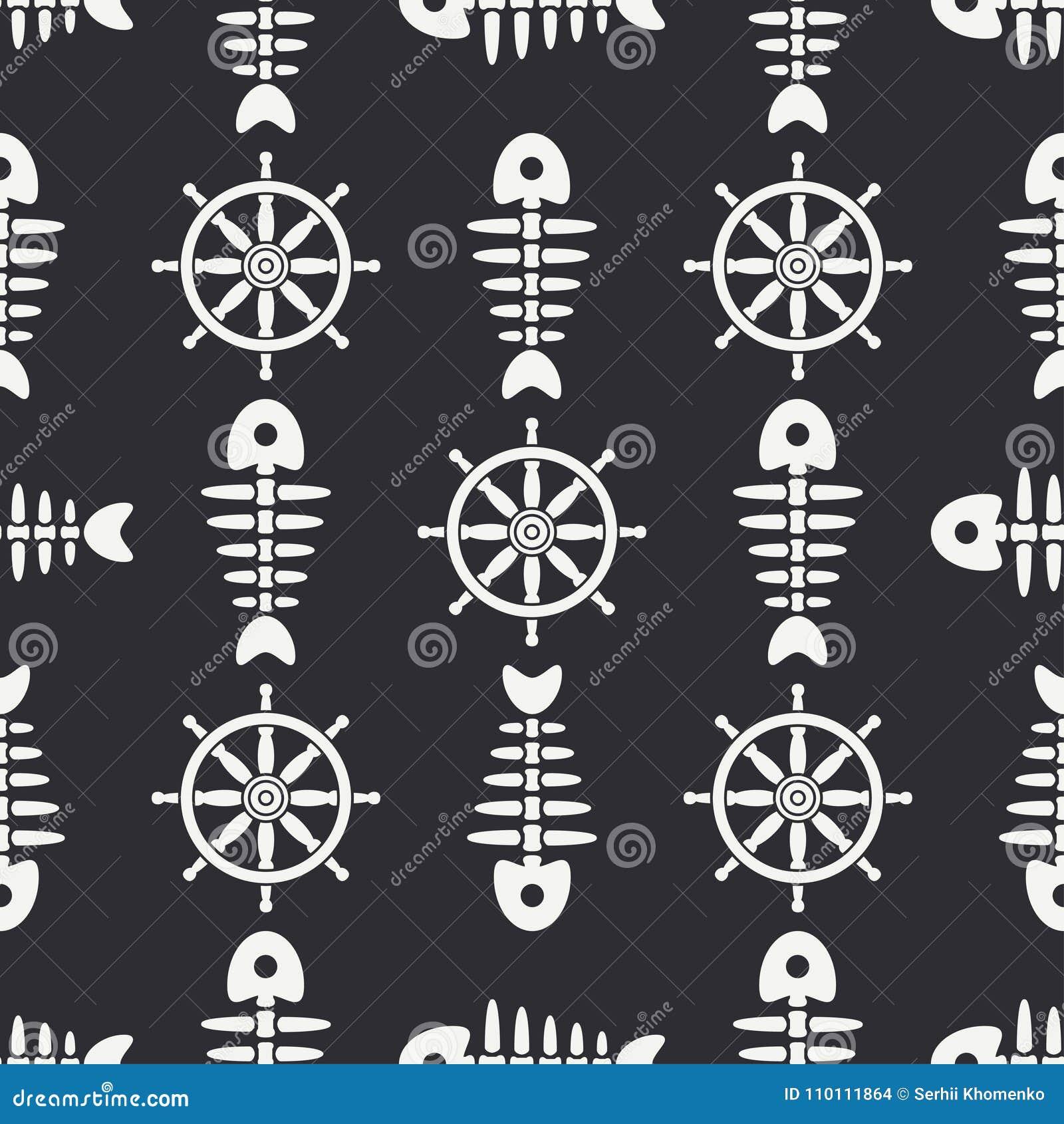 Flat Line Monochrome Vector Seamless Pattern Ocean Fish Bone