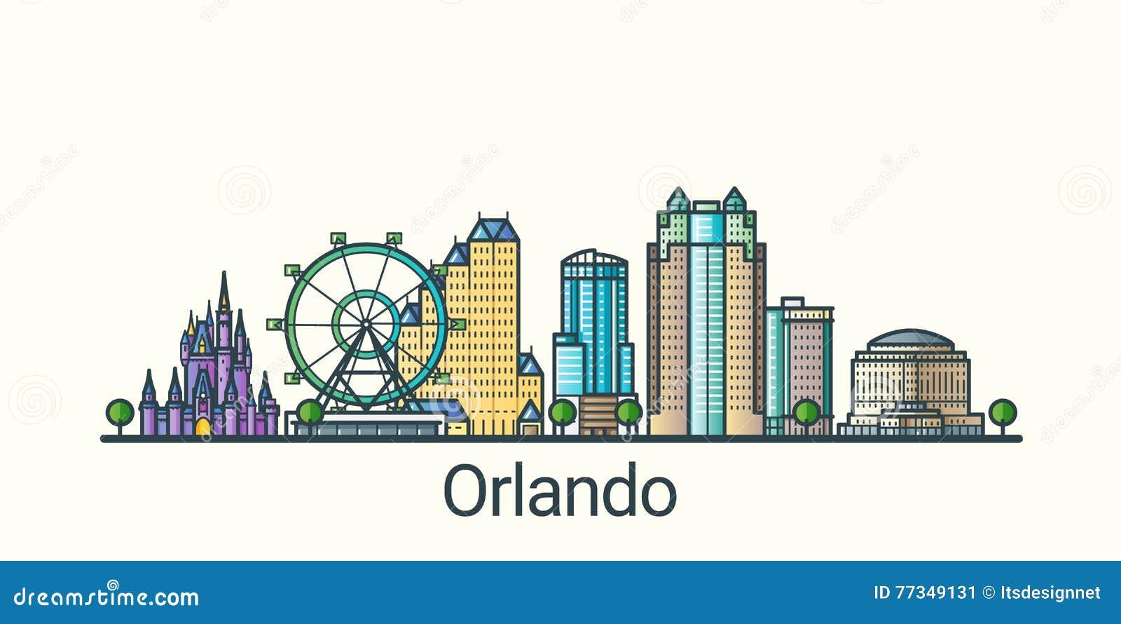 Orlando Clip Art : Outline orlando skyline with blue buildings cartoon